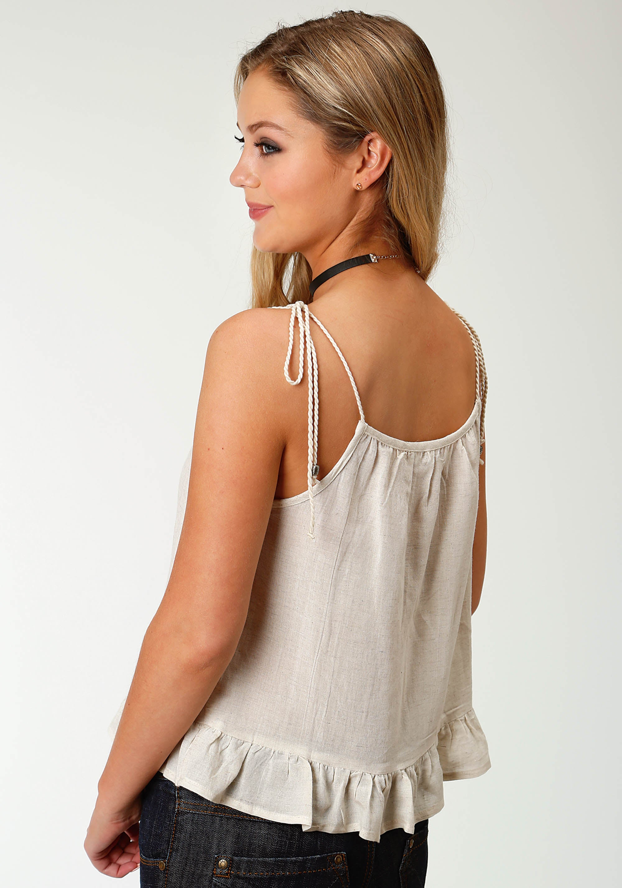 ROPER WOMENS WHITE 3005 COTTON TANK FIVE STAR COLLECTION- SPRING III SLEEVELESS