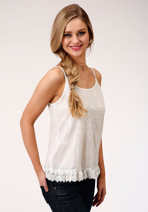 ROPER WOMENS WHITE 00128 WHITE SPAGHETTI STRAP TOP FIVE STAR COLLECTION- SPRING III SLEEVELESS