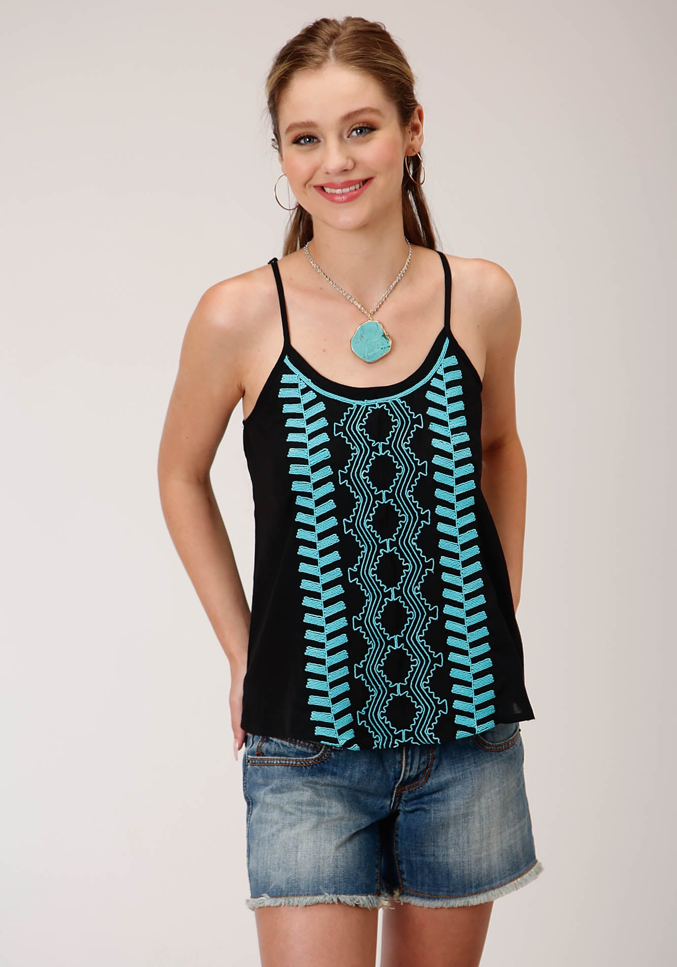 ROPER WOMENS BLACK 00235 RAYON EMBROIDERED TOP FIVE STAR COLLECTION- SUMMER III SLEEVELESS