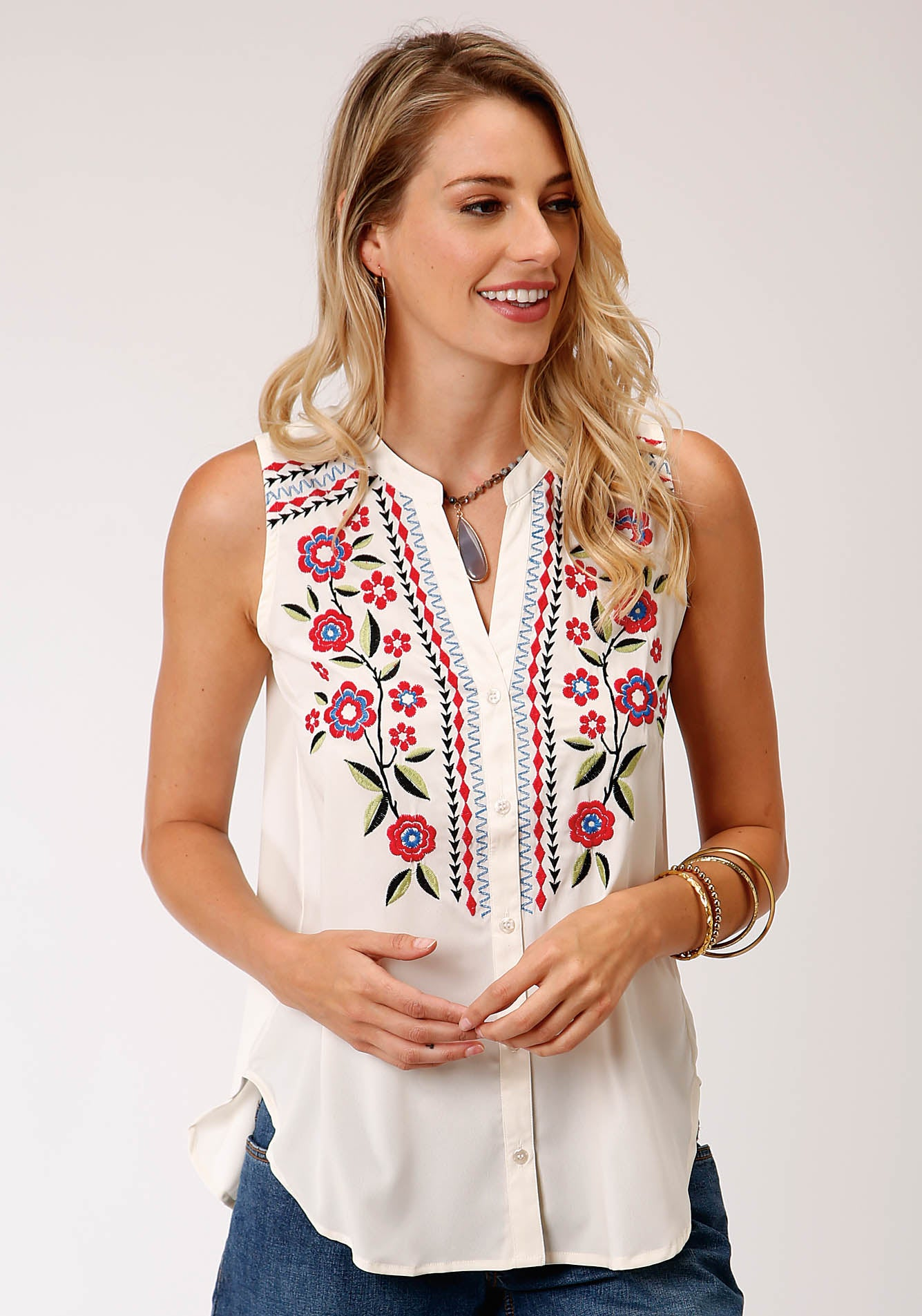 ROPER WOMENS WHITE 00218 POLY CREPE SLVLS TOP STUDIO WEST- WILD BLOSSOMS SLEEVELESS