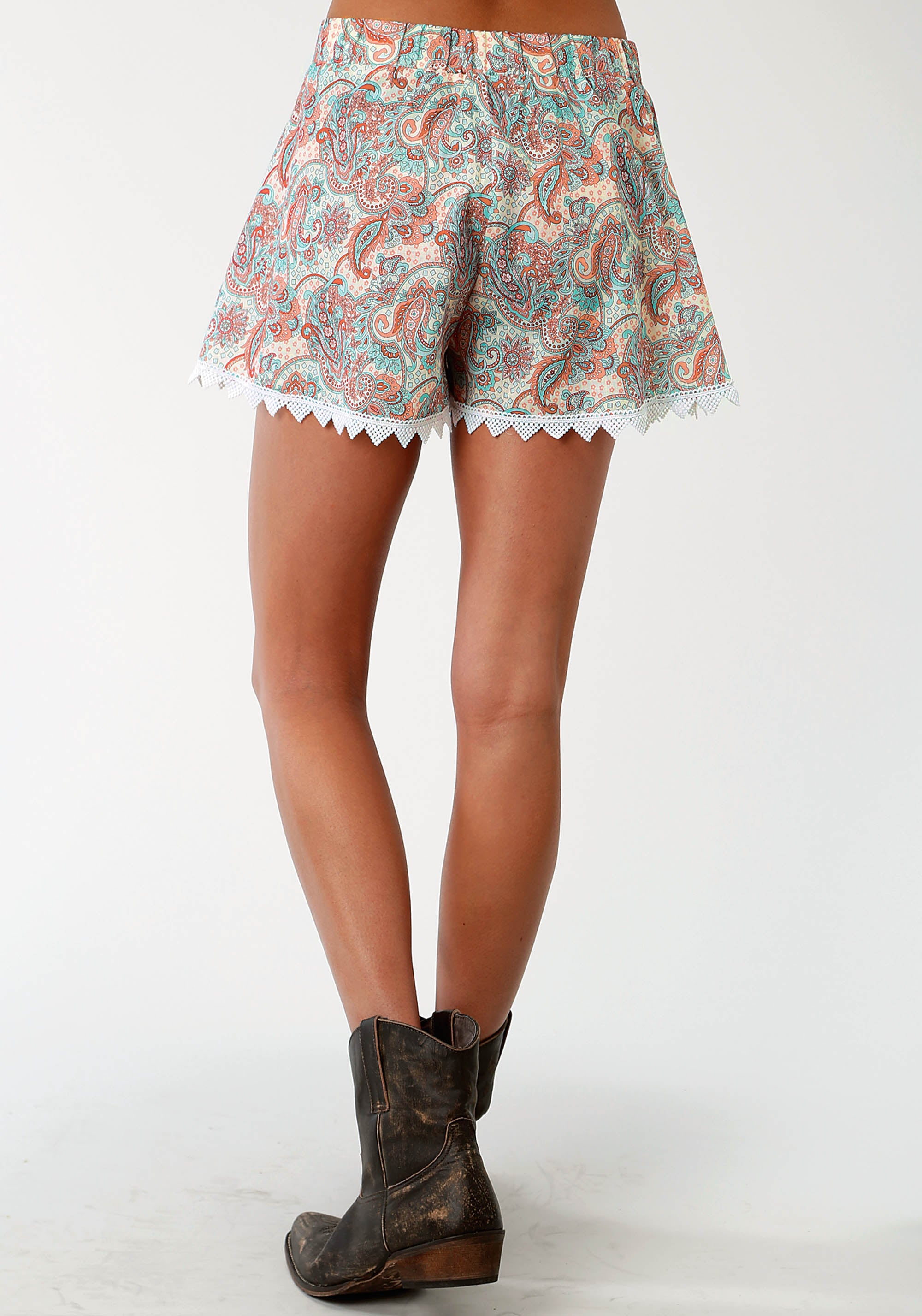 ROPER WOMENS BLUE 1598 TURQUOISE PAISLEY BOYFRIEND SHORT FIVE STAR- SPRING III SHORTS