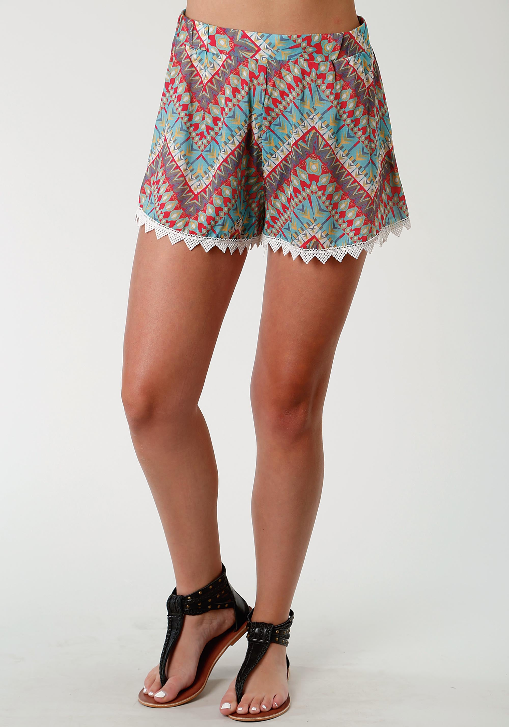 ROPER WOMENS GREEN 1732 AZTEC CHEVRON PRT RAYON LS ROMPER FIVE STAR- SUMMER I SHORTS
