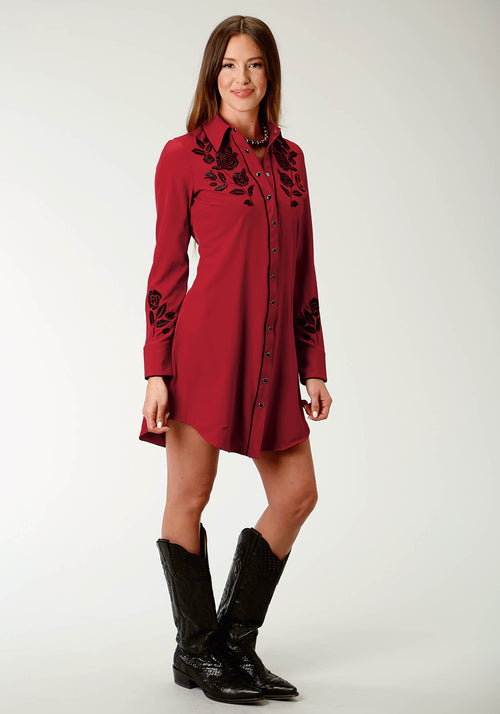 ROPER WOMENS RED 2430 RETRO DRESS OLD WEST COLLECTION LONG SLEEVE DRESS