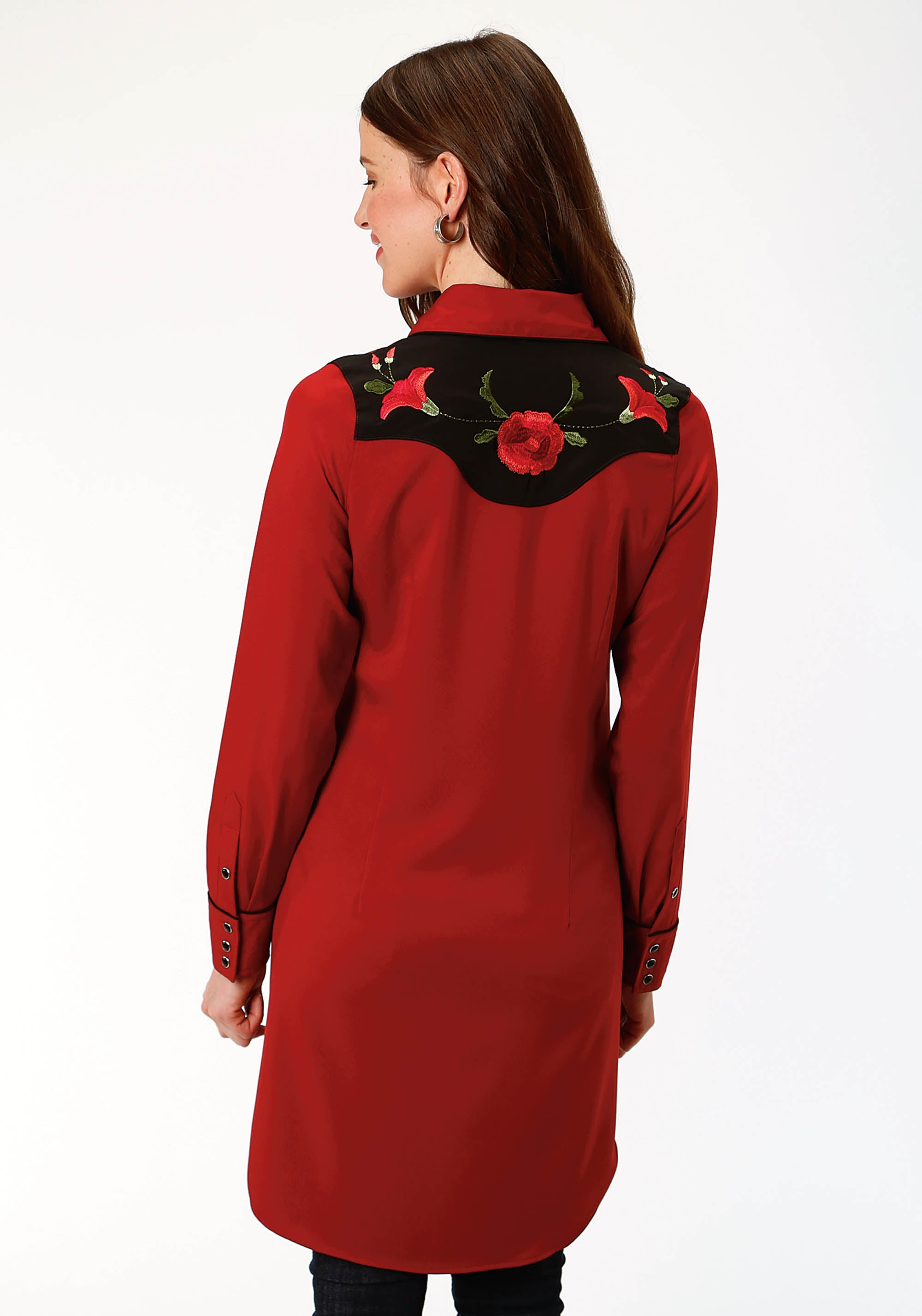 ROPER WOMENS RED 1495 POLY SPANDEX RETRO DRESS OLD WEST COLLECTION LONG SLEEVE DRESS