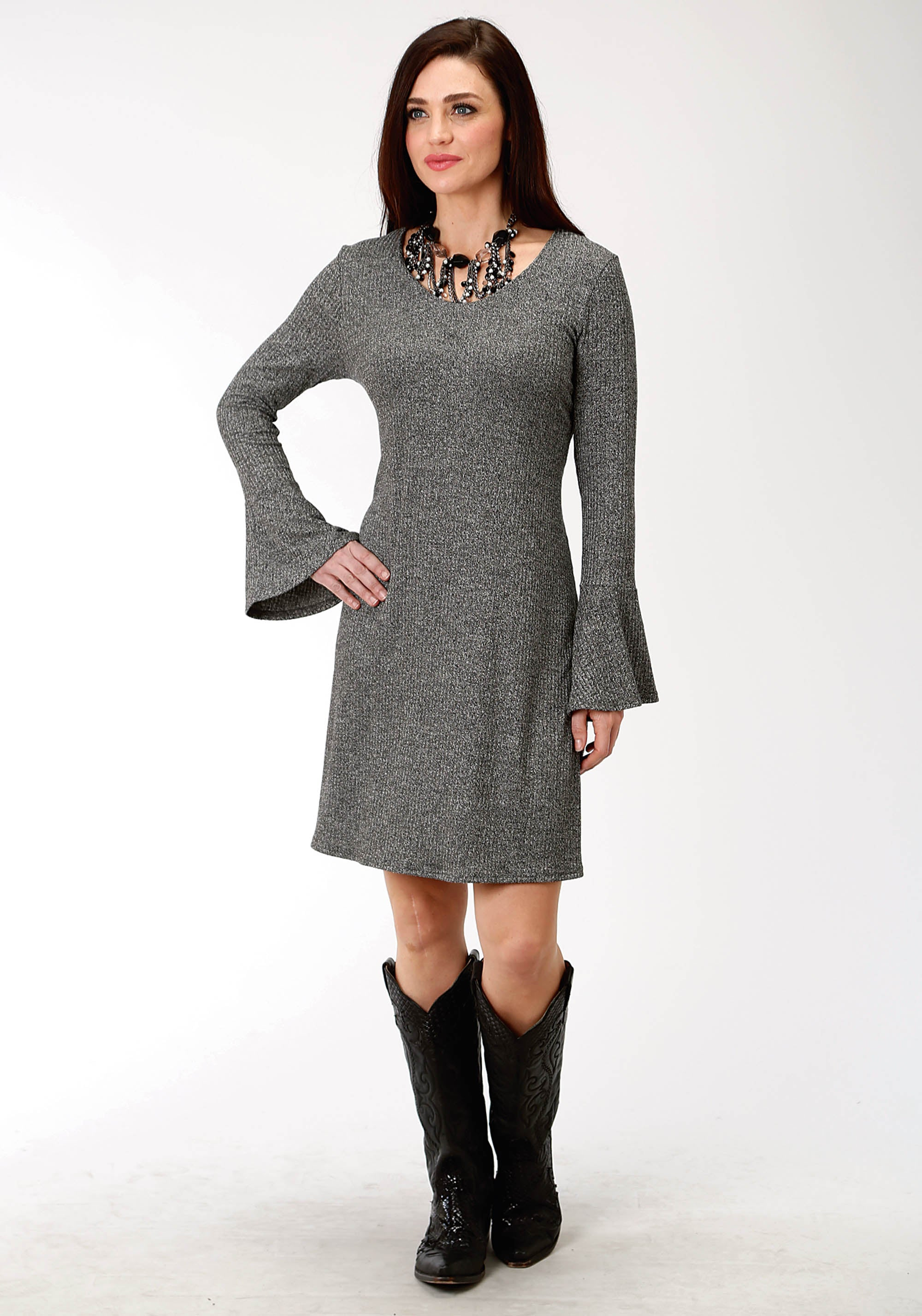 ROPER WOMENS BLACK 9499 HEATHER BLK RIBKNIT A-LINE DRESS STUDIO WEST COLLECTION- NATIVE ARTS LONG SLEEVE DRESS