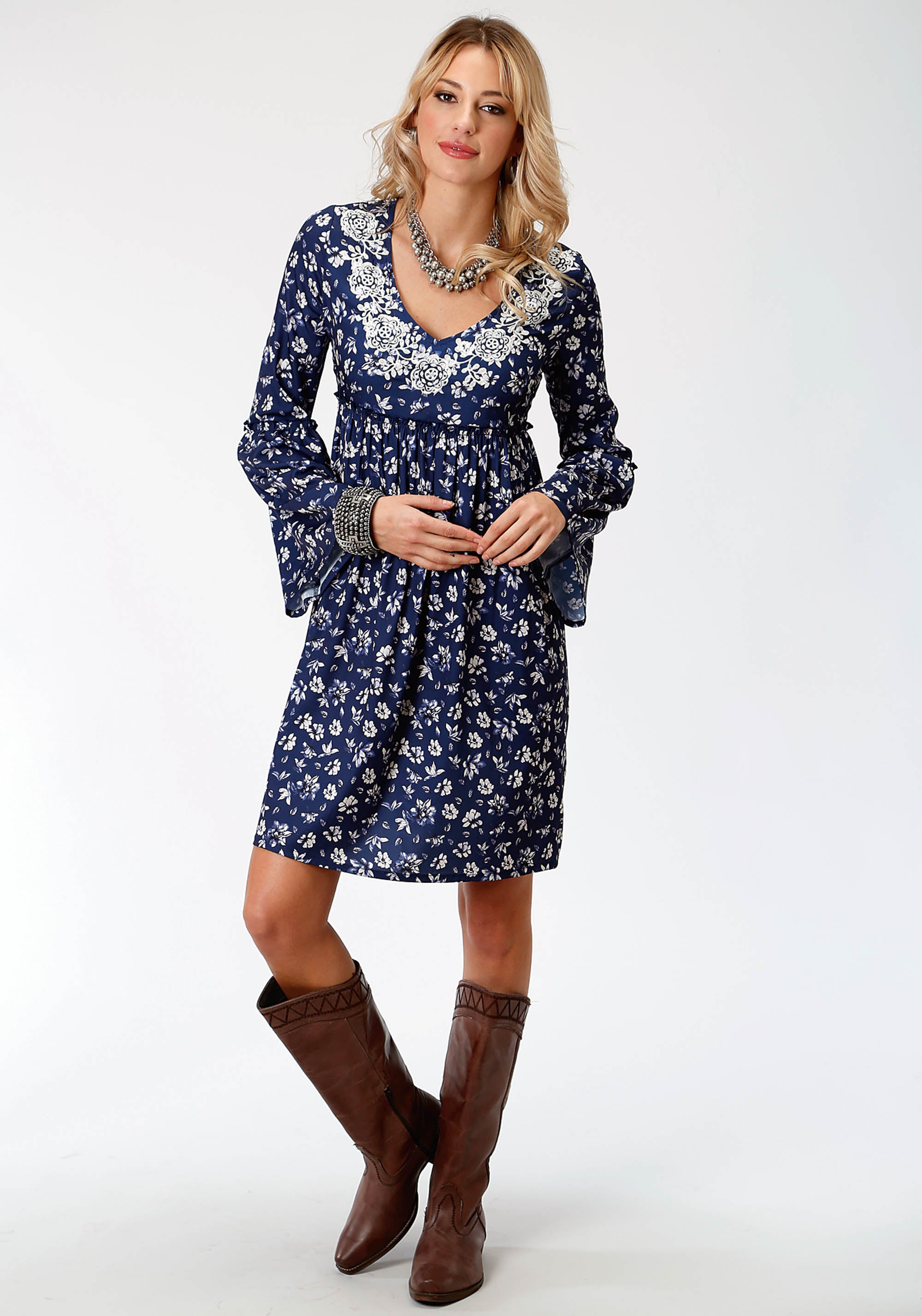 ROPER WOMENS BLUE 7441 STEEL MAGNOLIA PRT POLY CREPE DR STUDIO WEST COLLECTION- STEEL MAGNOLIAS LONG SLEEVE DRESS