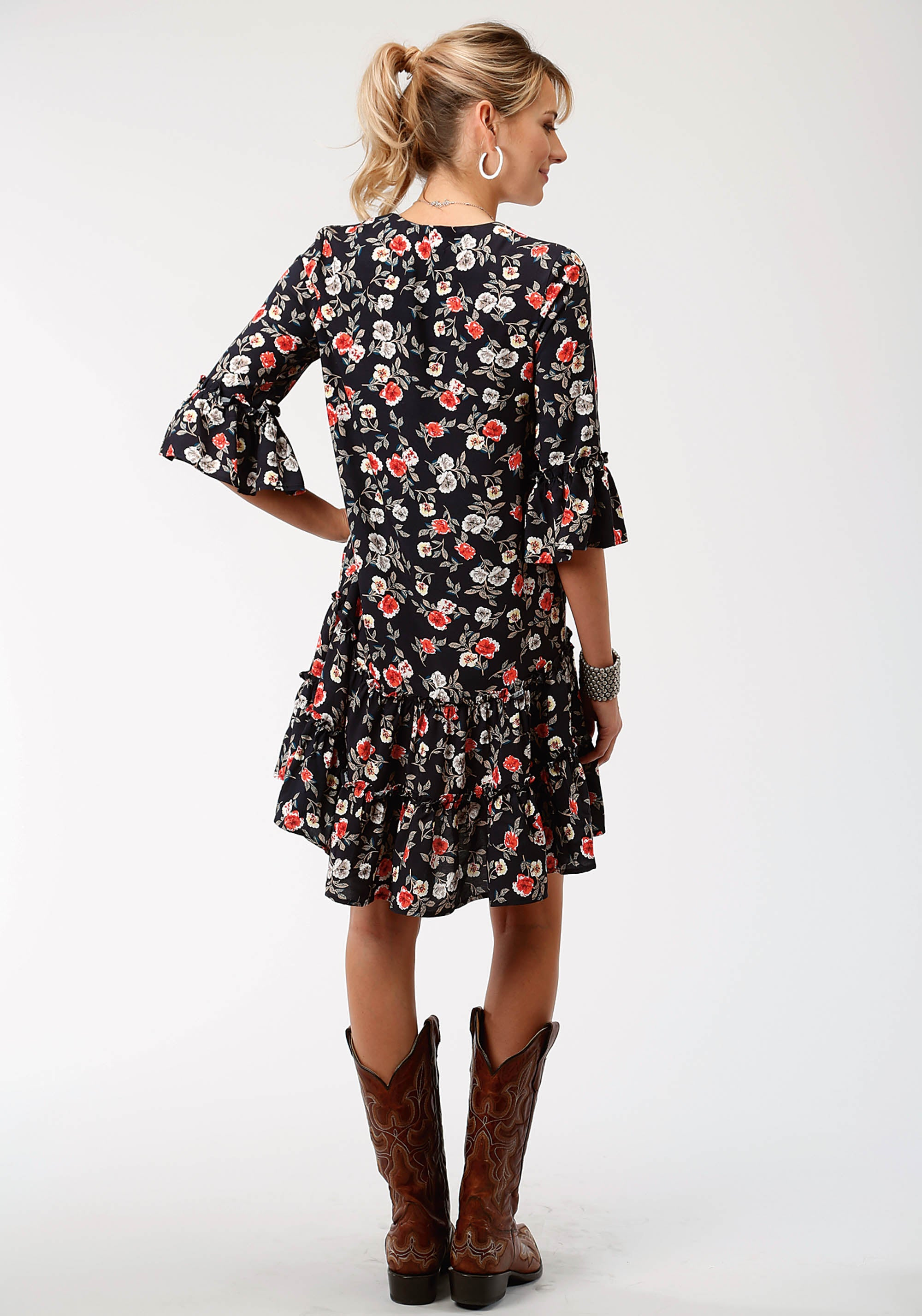 ROPER WOMENS BLACK 6127 FLORAL PRINT RAYON TIERED DRESS STUDIO WEST- GYPSY ROSES LONG SLEEVE DRESS