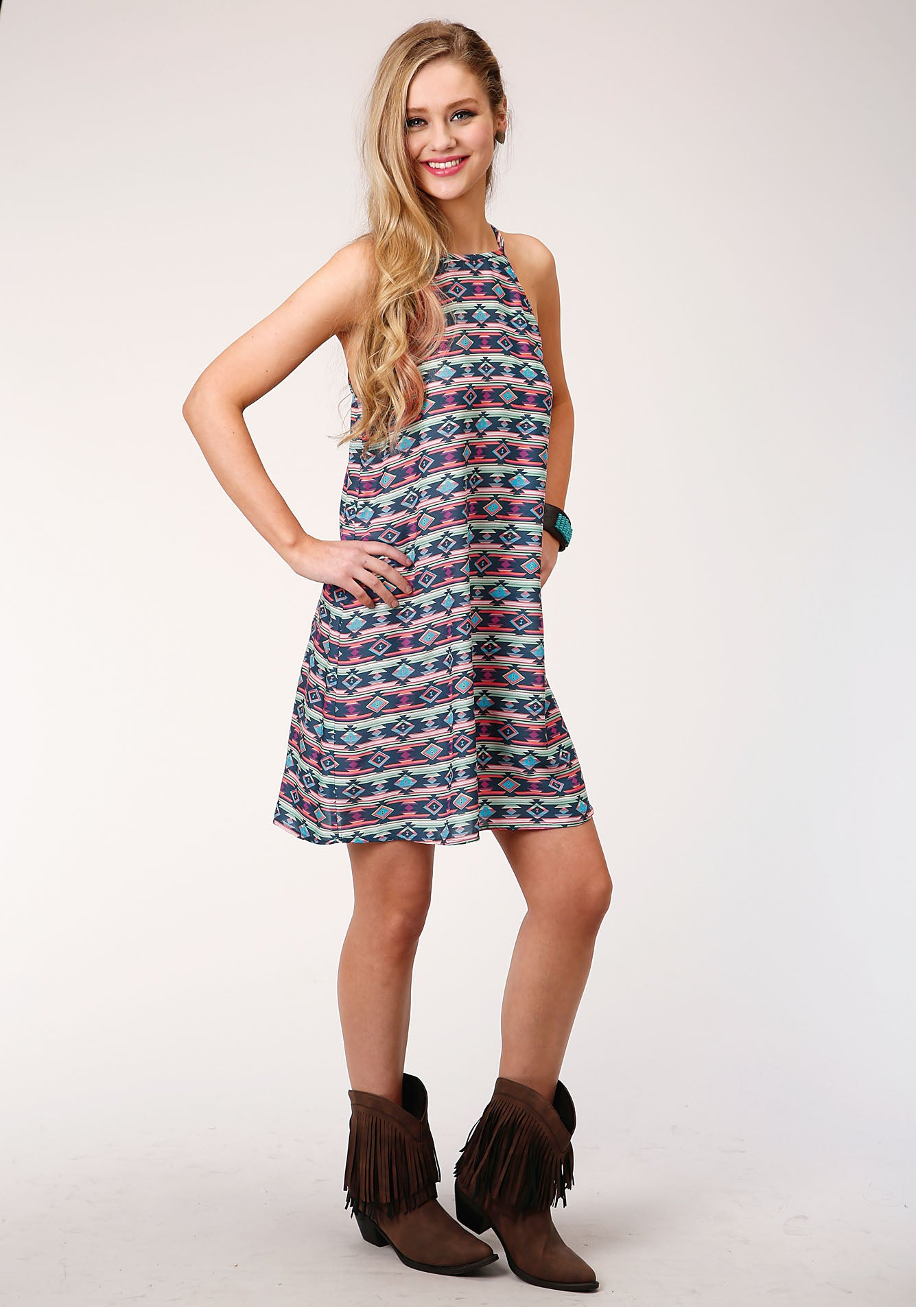 ROPER WOMENS BLUE 00118 NAVY AZTEC PRT RAYON FIVE STAR COLLECTION- SPRING II SLEEVELESS DRESS