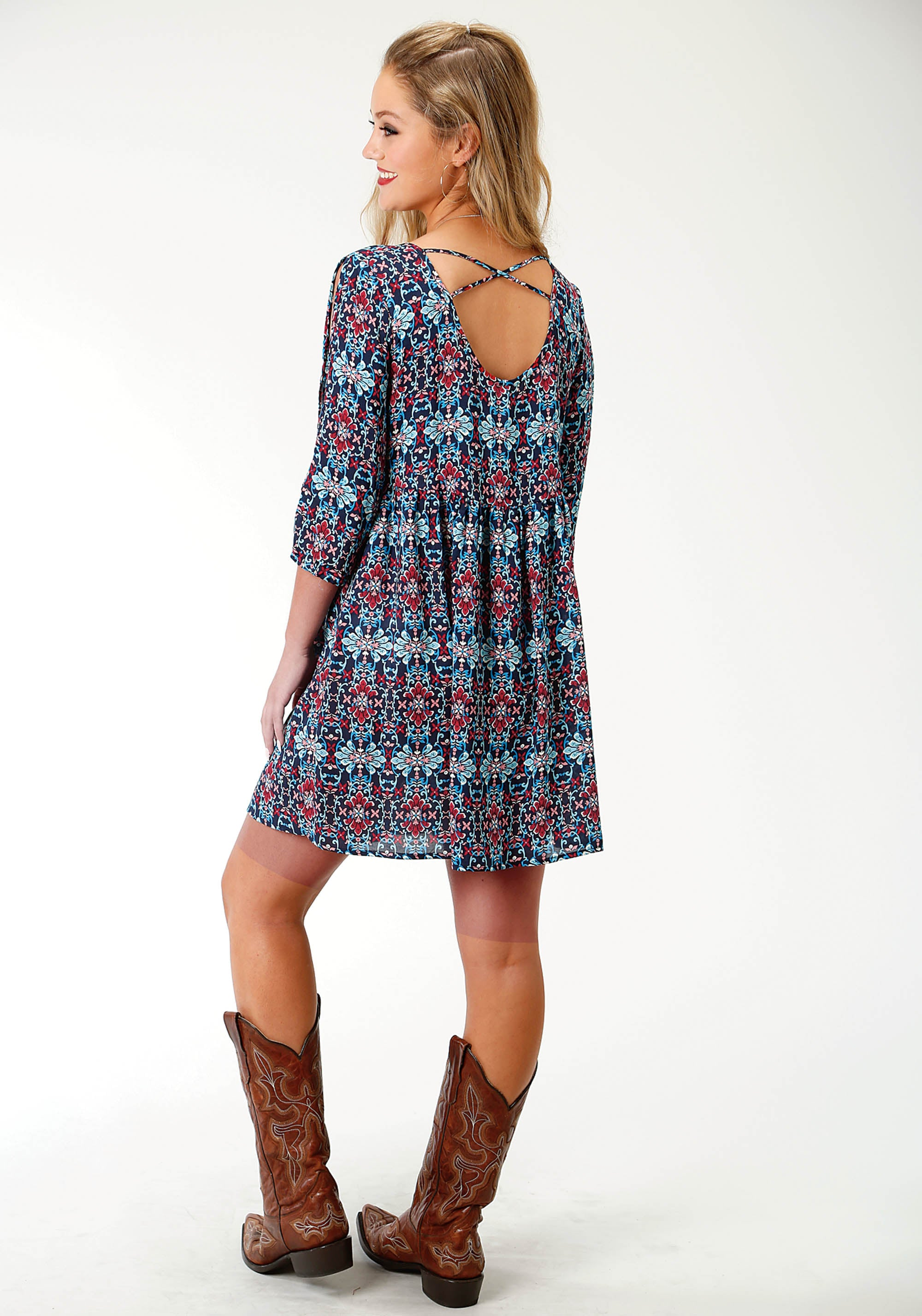 ROPER WOMENS BLUE 2754 SUNSET TAPESTRY DRESS FIVE STAR COLLECTION- SPRING III LONG SLEEVE DRESS