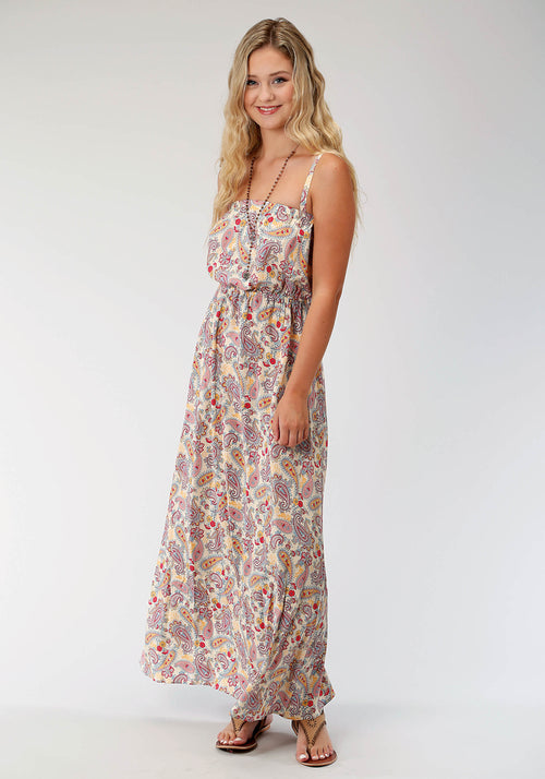 ROPER WOMENS WHITE 6800 SUNFLOWER PAISLEY MAXI DRESS FIVE STAR COLLECTION- SUMMER I SLEEVELESS DRESS