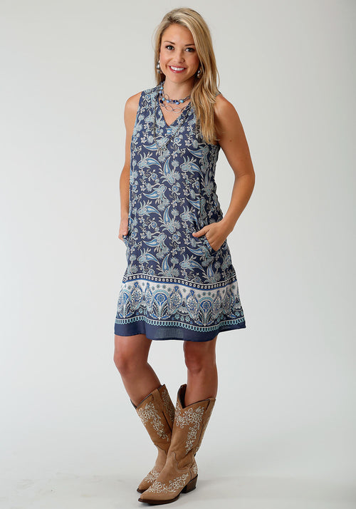 ROPER WOMENS BLUE 1730 PAISLEY BORDER PRT SLVLS DRESS STUDIO WEST- FOREVER BLUE SLEEVELESS DRESS