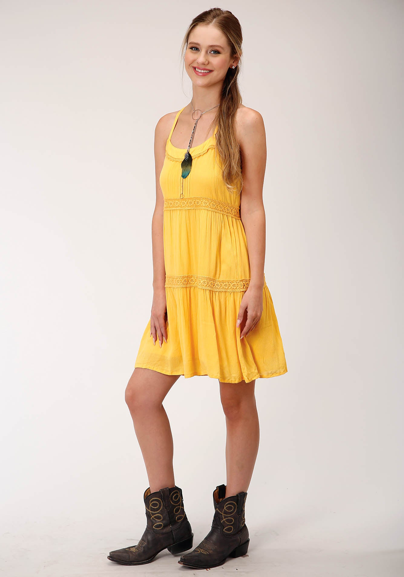 ROPER WOMENS YELLOW 00238 COTTON SLVLS DRESS FIVE STAR COLLECTION- SUMMER I SLEEVELESS DRESS