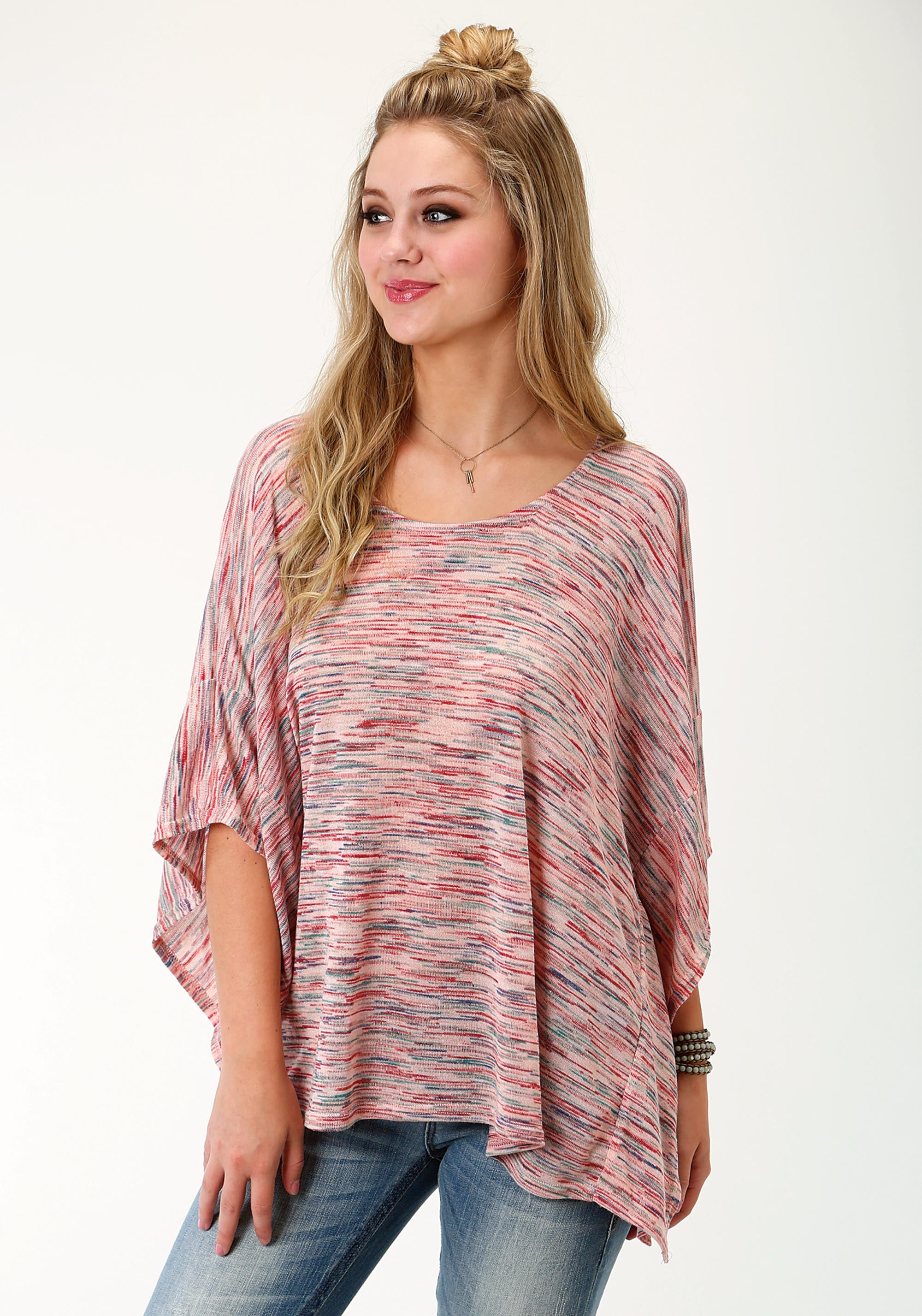 ROPER WOMENS PINK 1778 SPACE DYE SWEATER KNIT PONCHO FIVE STAR- SUMMER III SLEEVELESS SHIRT