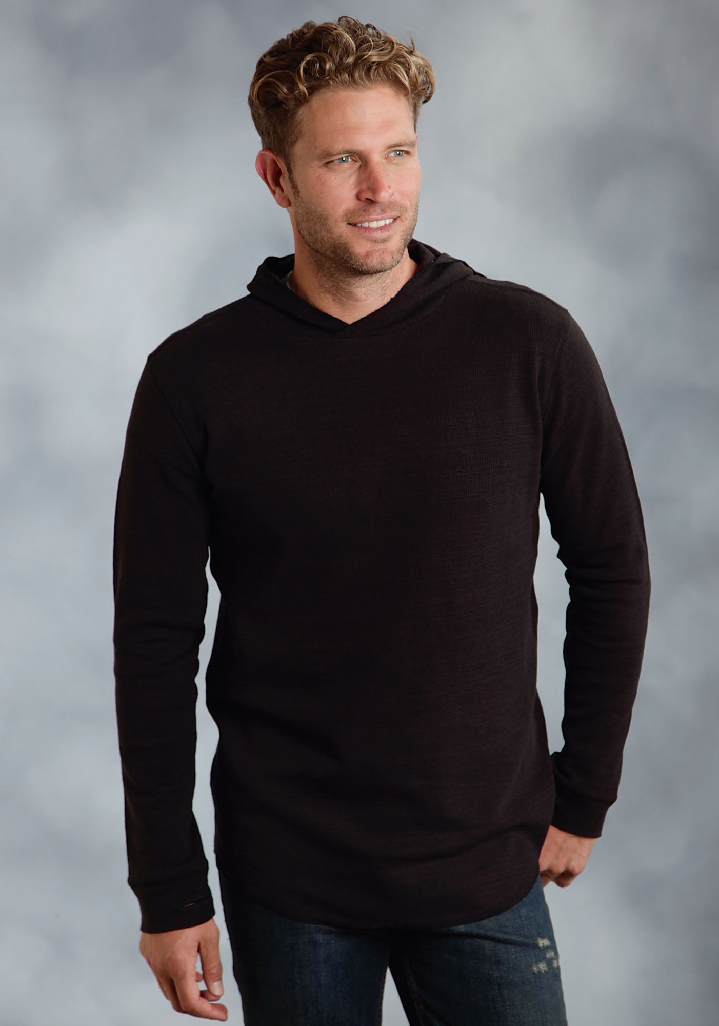 ROPER MENS BLACK 98025 THEMAL SLUB YARN KNIT W/ HOOD  LONG SLEEVE