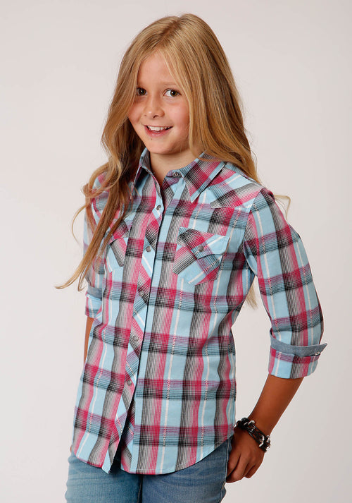 ROPER GIRLS BLUE 00187 CORAL DOBBY WEST MADE COLLECTION LONG SLEEVE