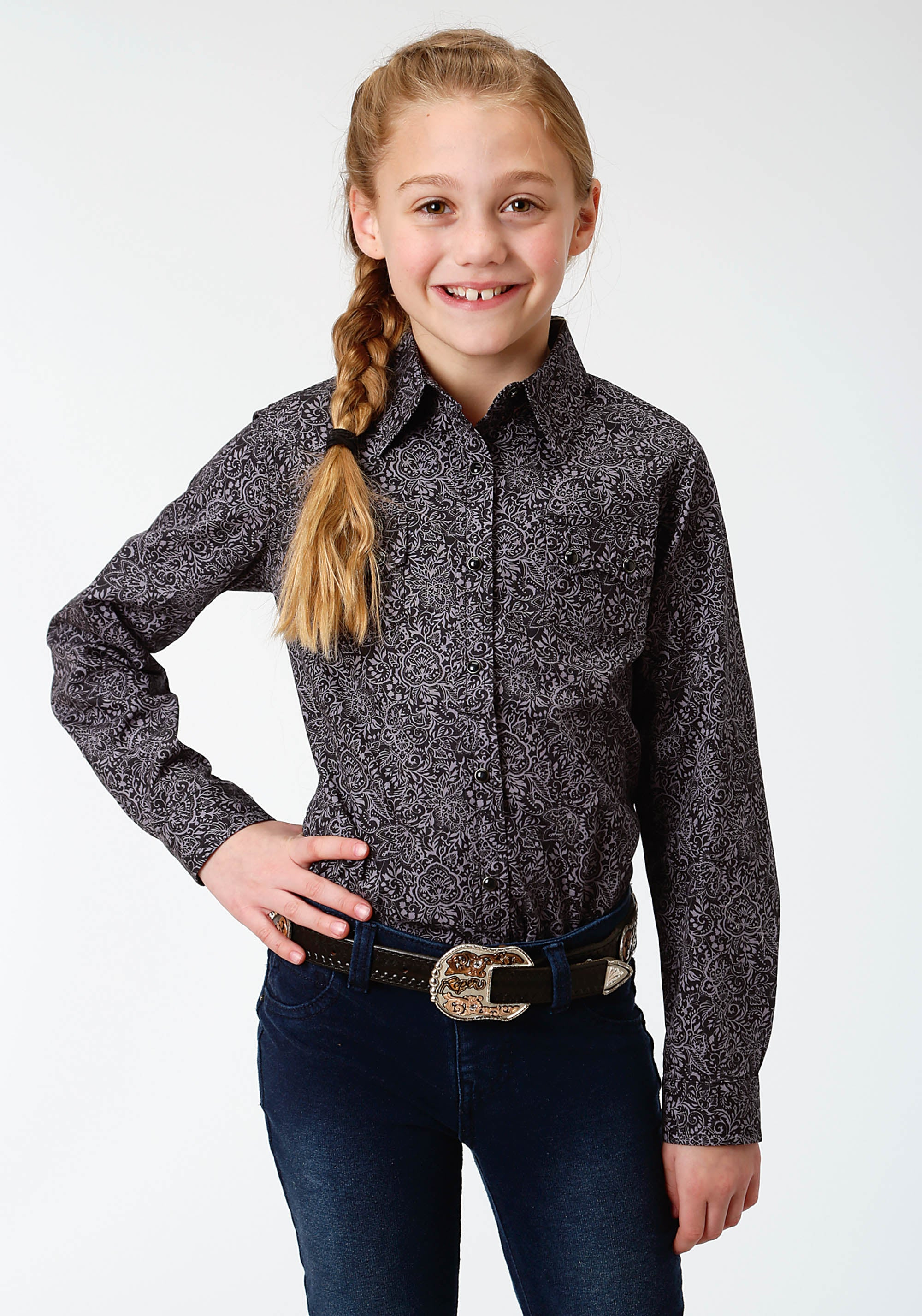 ROPER GIRLS BLACK 0757 BLACK PAISLEY WEST MADE COLLECTION LONG SLEEVE