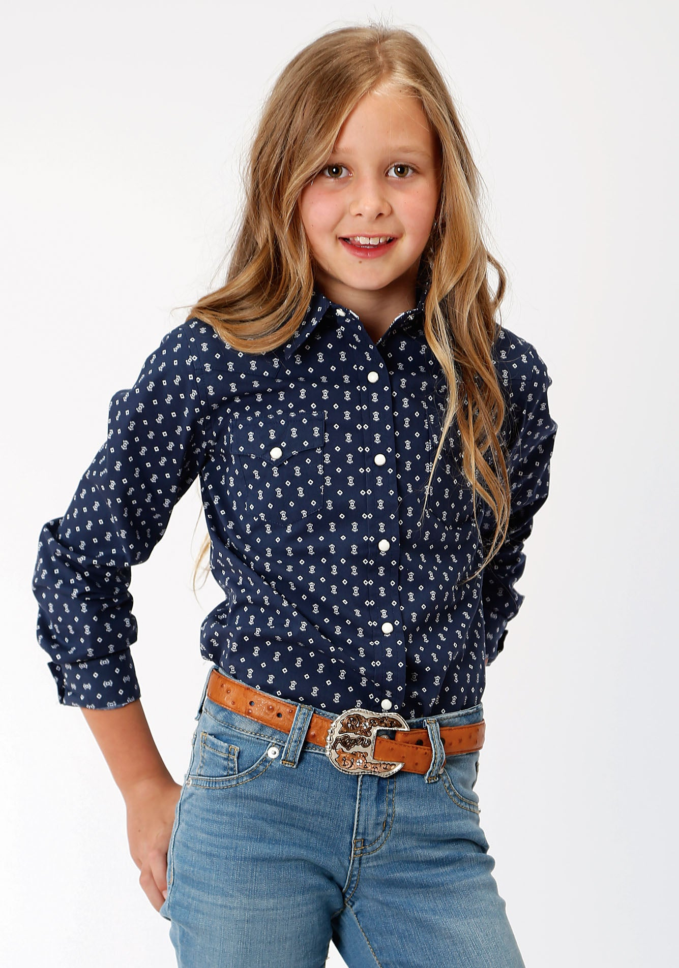 ROPER GIRLS BLUE 00075 WEB GEO WEST MADE COLLECTION LONG SLEEVE