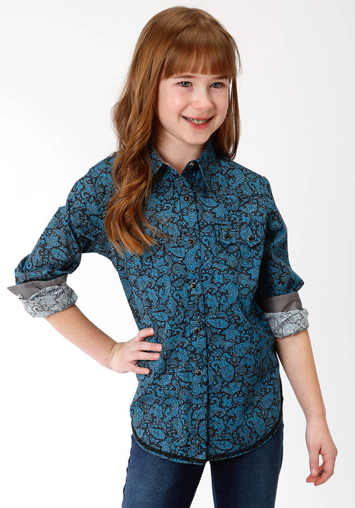 ROPER GIRLS BLUE 0785 PAISLEY CRACKLE WEST MADE COLLECTION LONG SLEEVE