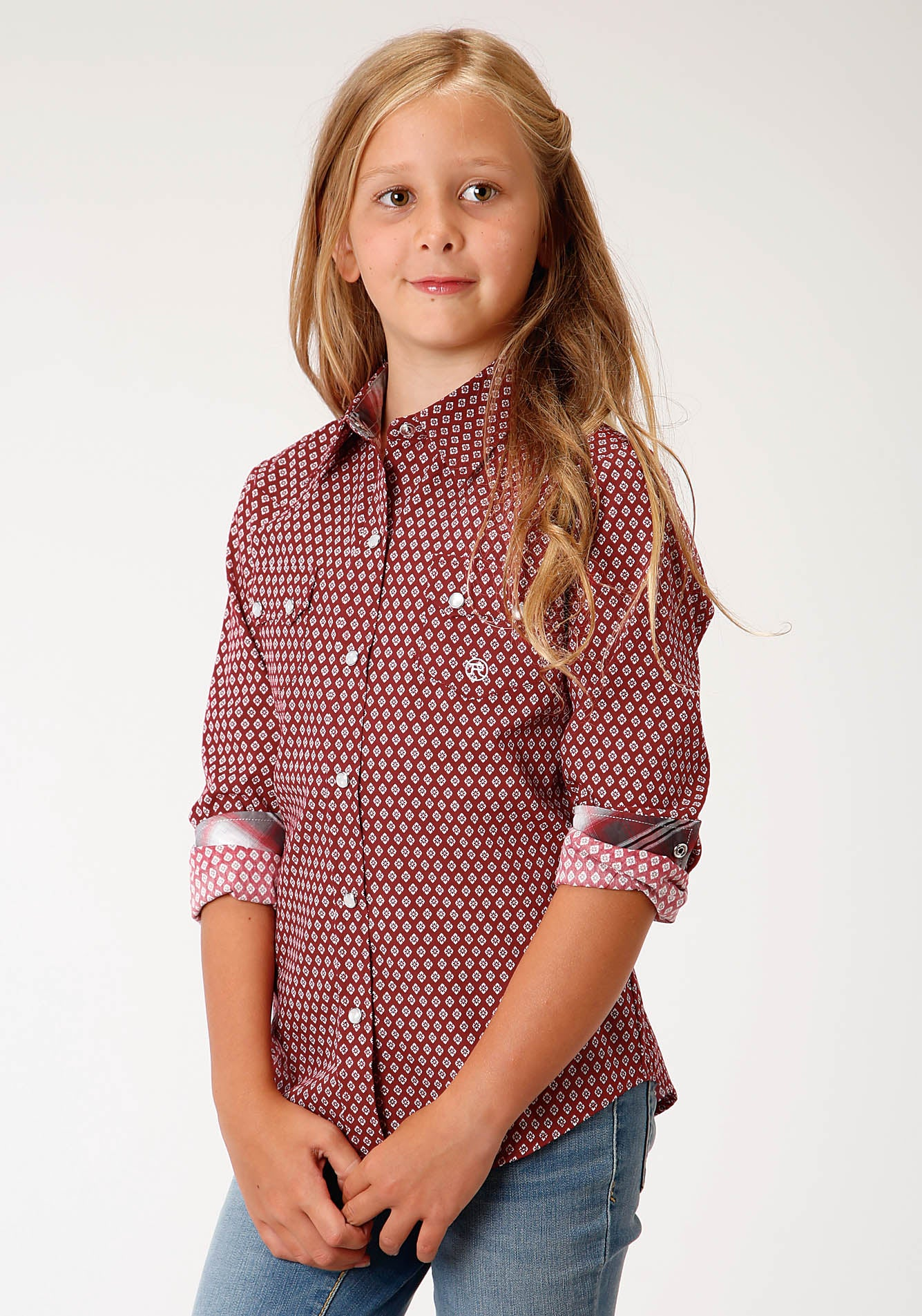 ROPER GIRLS RED 00153 RED BARN FOULARD GIRL'S AMARILLO COLLECTION - RED BARN LONG SLEEVE