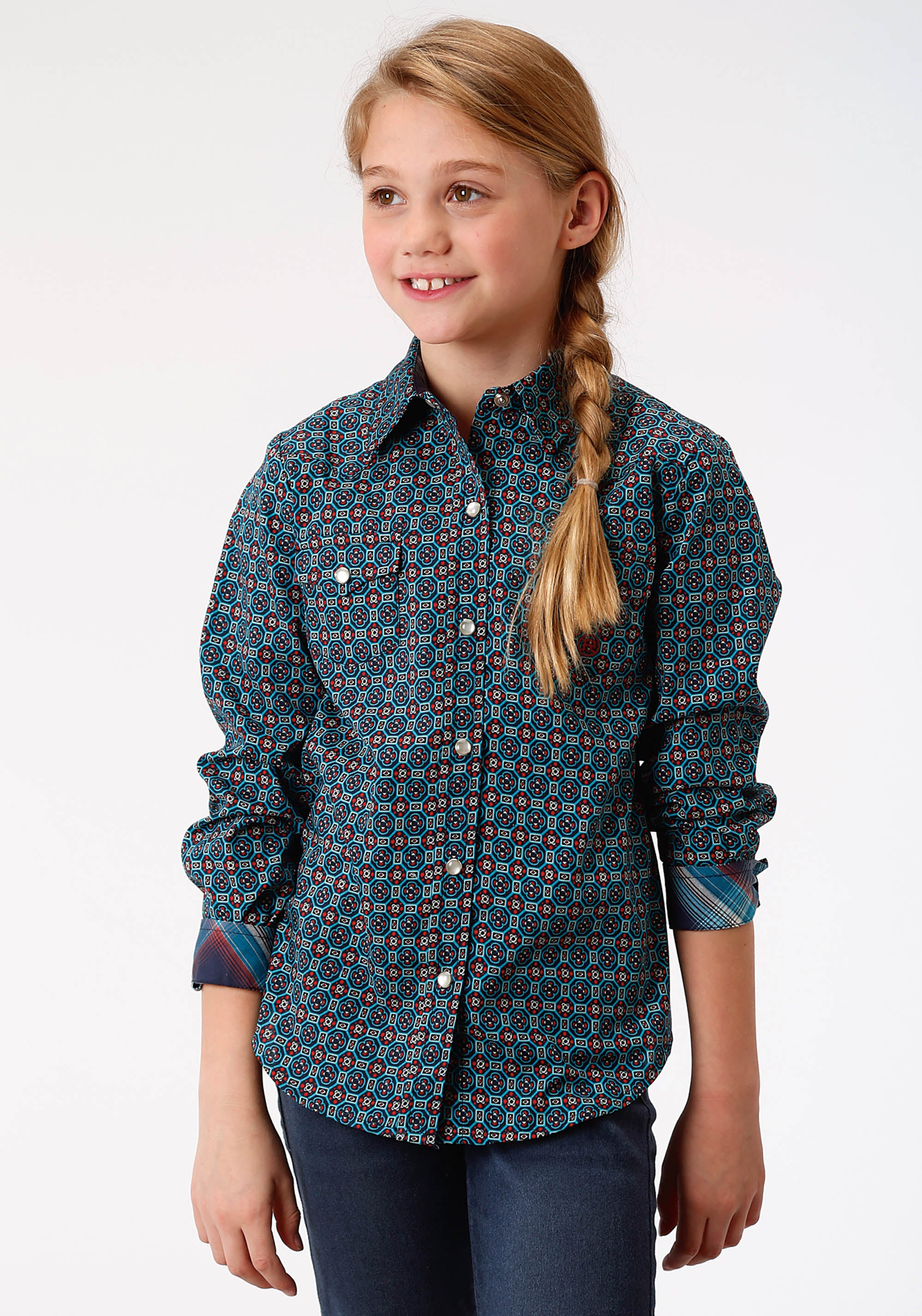 ROPER GIRLS BLUE 9649 GLASS FOULARD GIRLS AMARILLO COLLECTION- AUTUMN SUNSET LONG SLEEVE