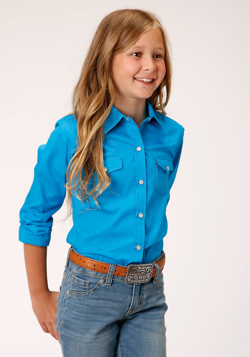 ROPER GIRLS BLUE 00068 SOLID POPLIN - TURQUOISE GIRLS AMARILLO COLLECTION- OASIS LONG SLEEVE