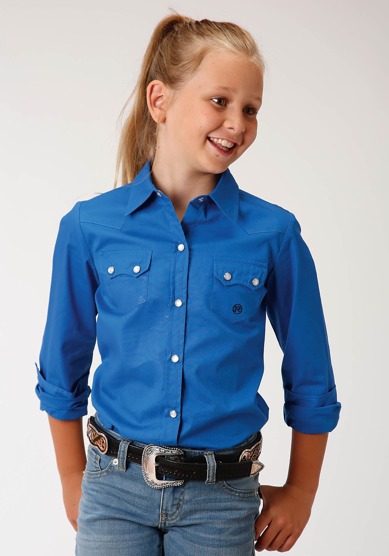 ROPER GIRLS BLUE 00227 SOLID POPLIN - ROYAL GIRL'S AMARILLO COLLECTION - BLUE RIDGE LONG SLEEVE