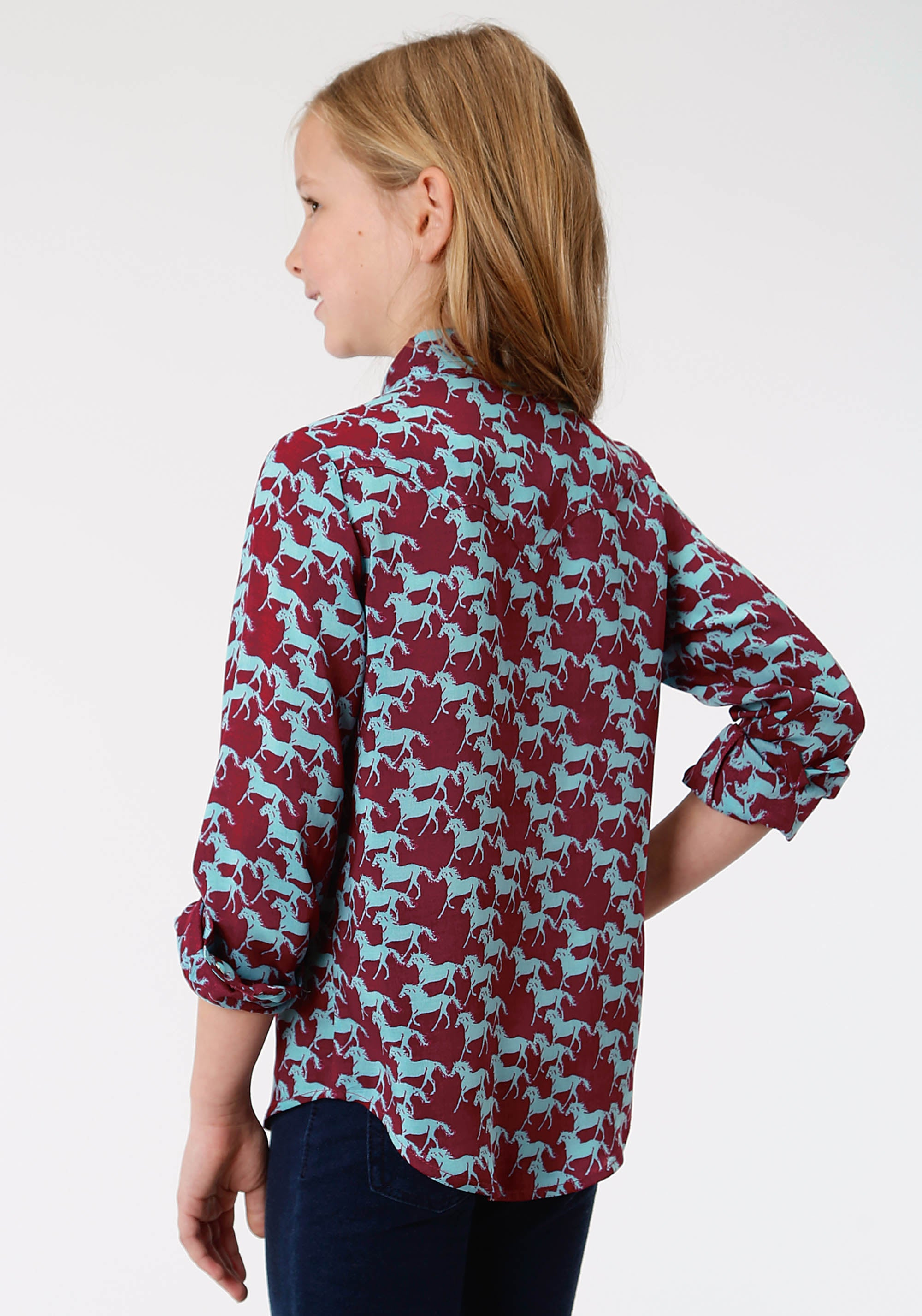 ROPER GIRLS RED 1013 PRINTED RAYON LS WESTERN SHIRT FIVE STAR GIRLS LONG SLEEVE