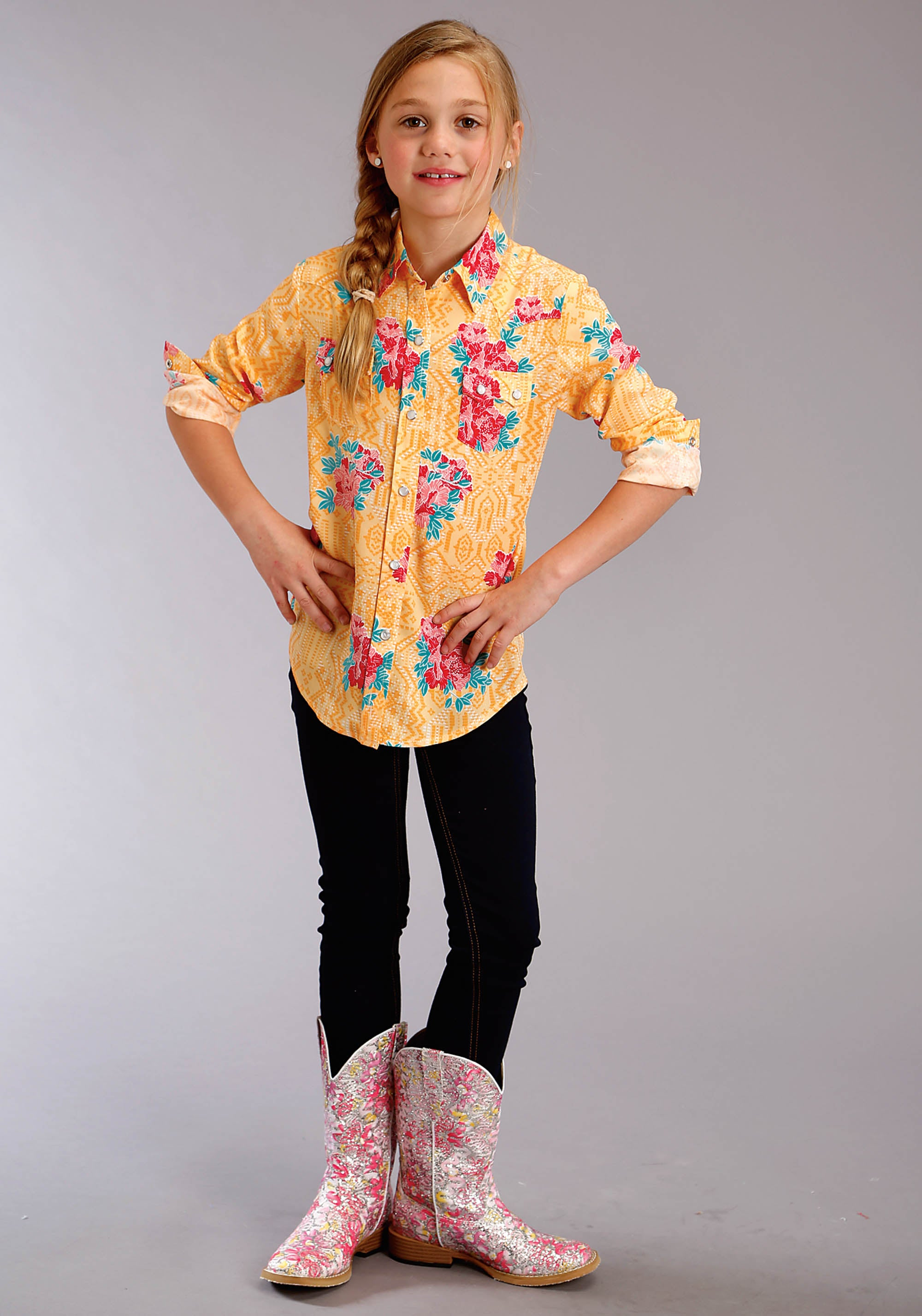 ROPER GIRLS YELLOW 2749 SPRING FLORAL WESTERN SHIRT ROPER GIRLS LONG SLEEVE