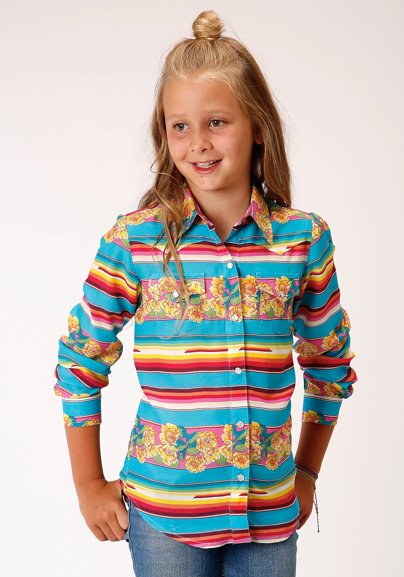 ROPER GIRLS BLUE 00190 SERAPE PRINT LS WESTERN SHIRT FIVE STAR GIRL'S LONG SLEEVE
