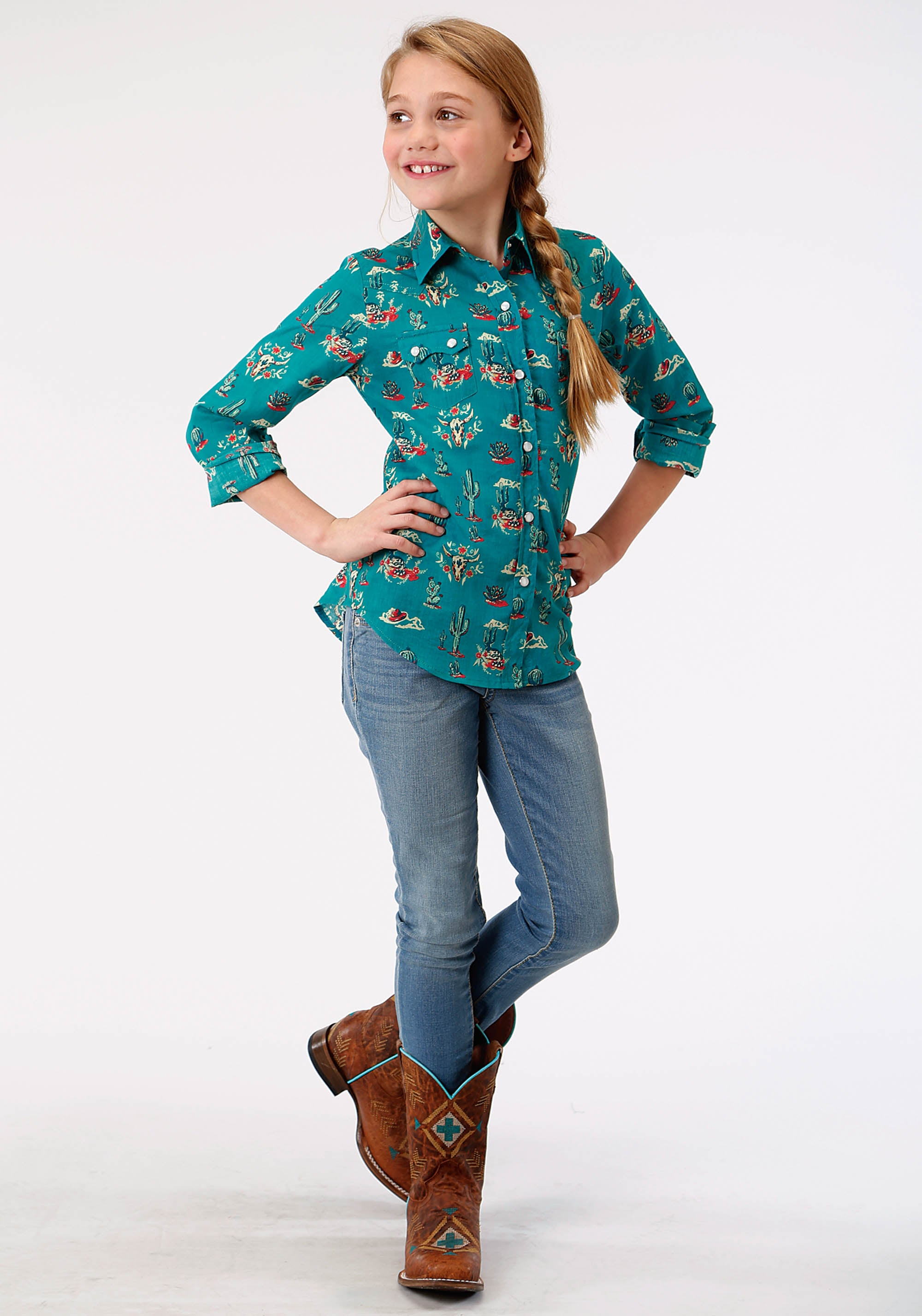 ROPER GIRLS BLUE 9870 CACTUS SCENE LS WESTERN BLOUSE FIVE STAR GIRLS LONG SLEEVE