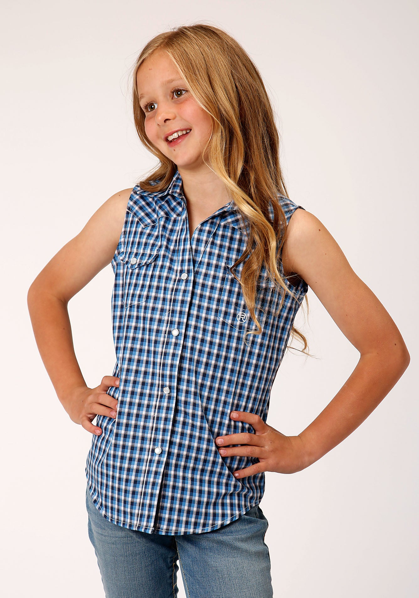ROPER GIRLS BLUE 00021 AMERICANA CHECK GIRLS AMARILLO COLLECTION- HERITAGE SLEEVELESS