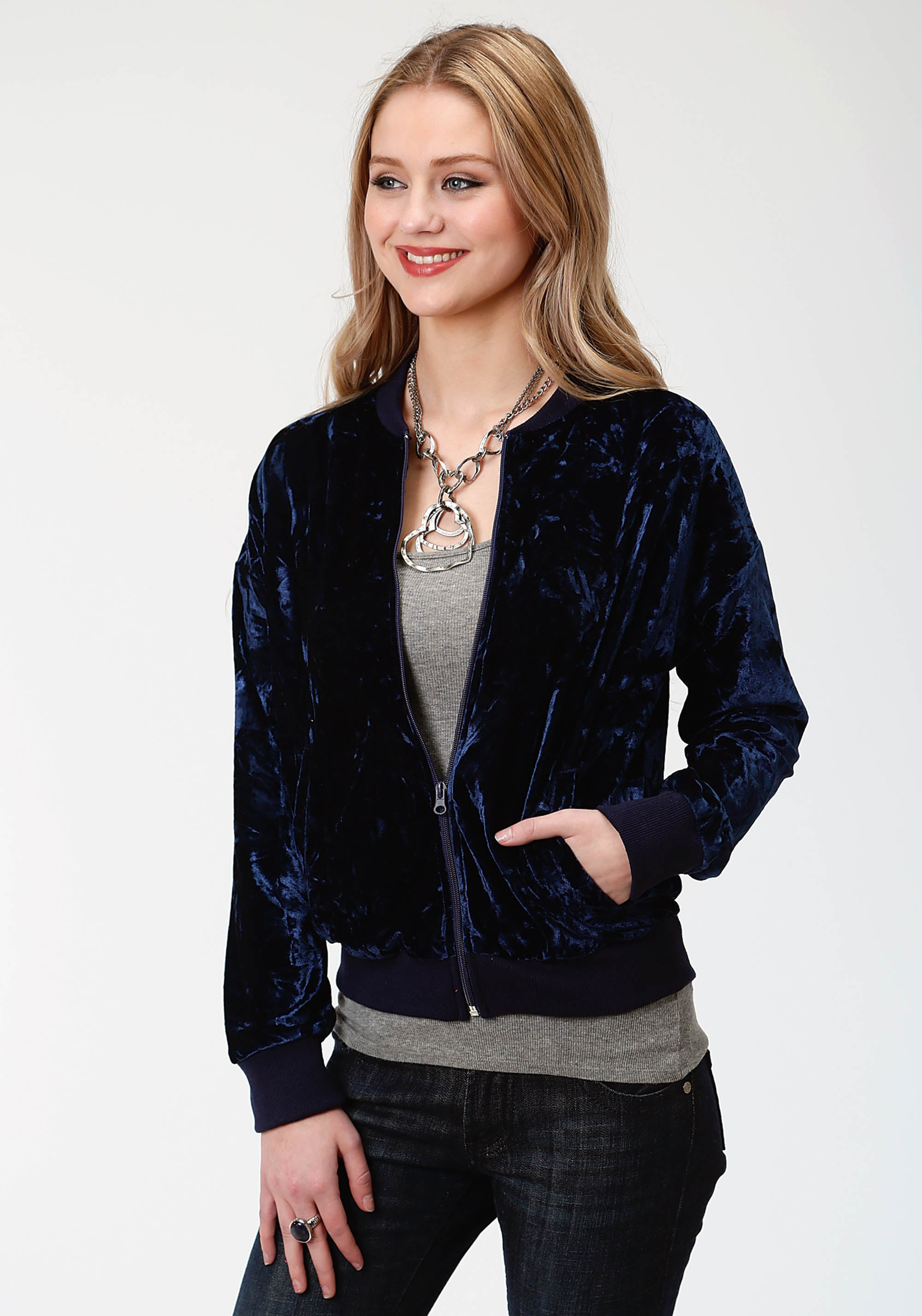 ROPER WOMENS BLUE 3559 CRUSHED VELVET BOMBER STYLE JCKT FIVE STAR- WINTER I JACKET