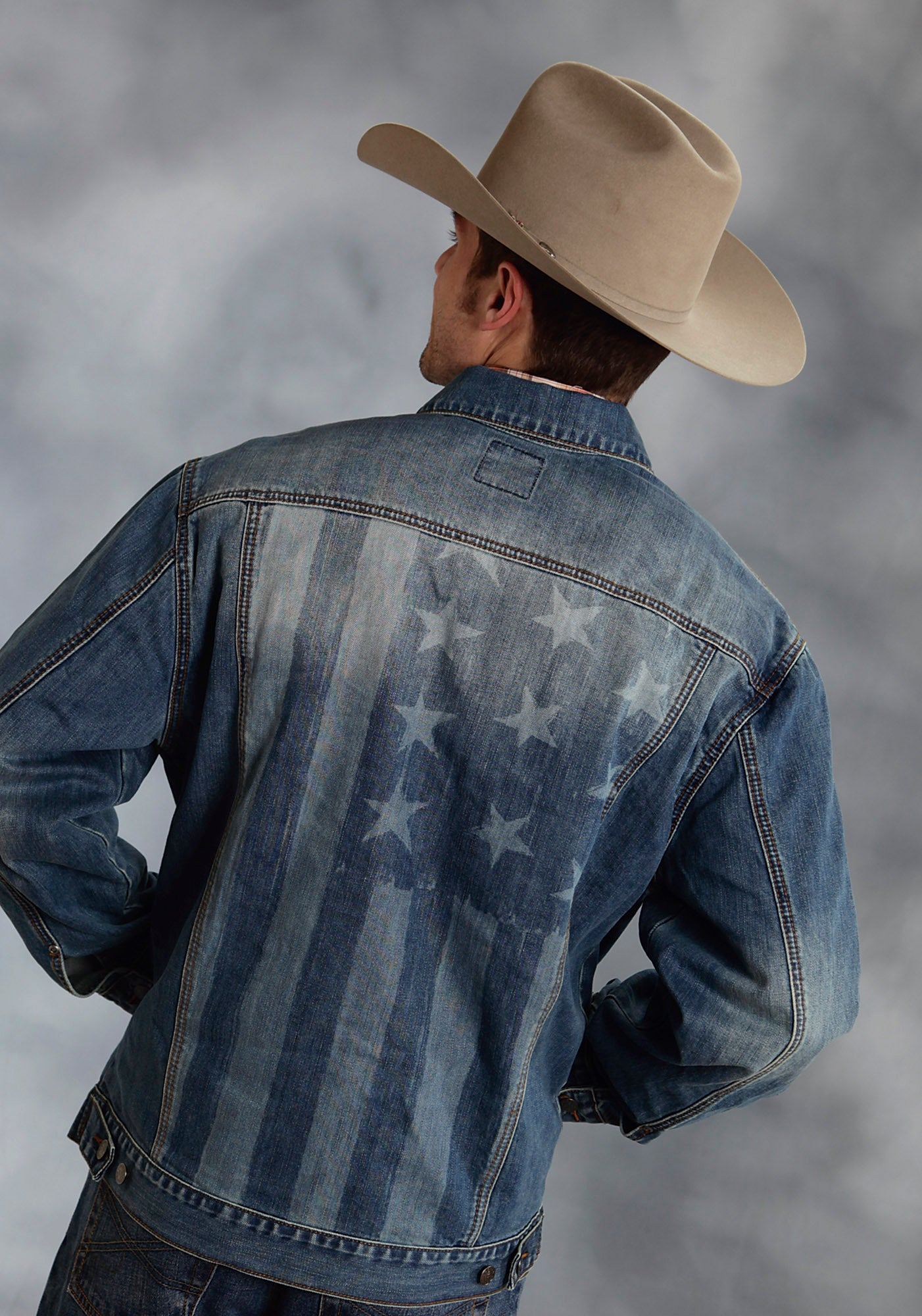 ROPER MENS BLUE JEAN JACKET W/FLAG SCREEN PRINT BACK MEN'S AMERICANA COLLECTION JACKET