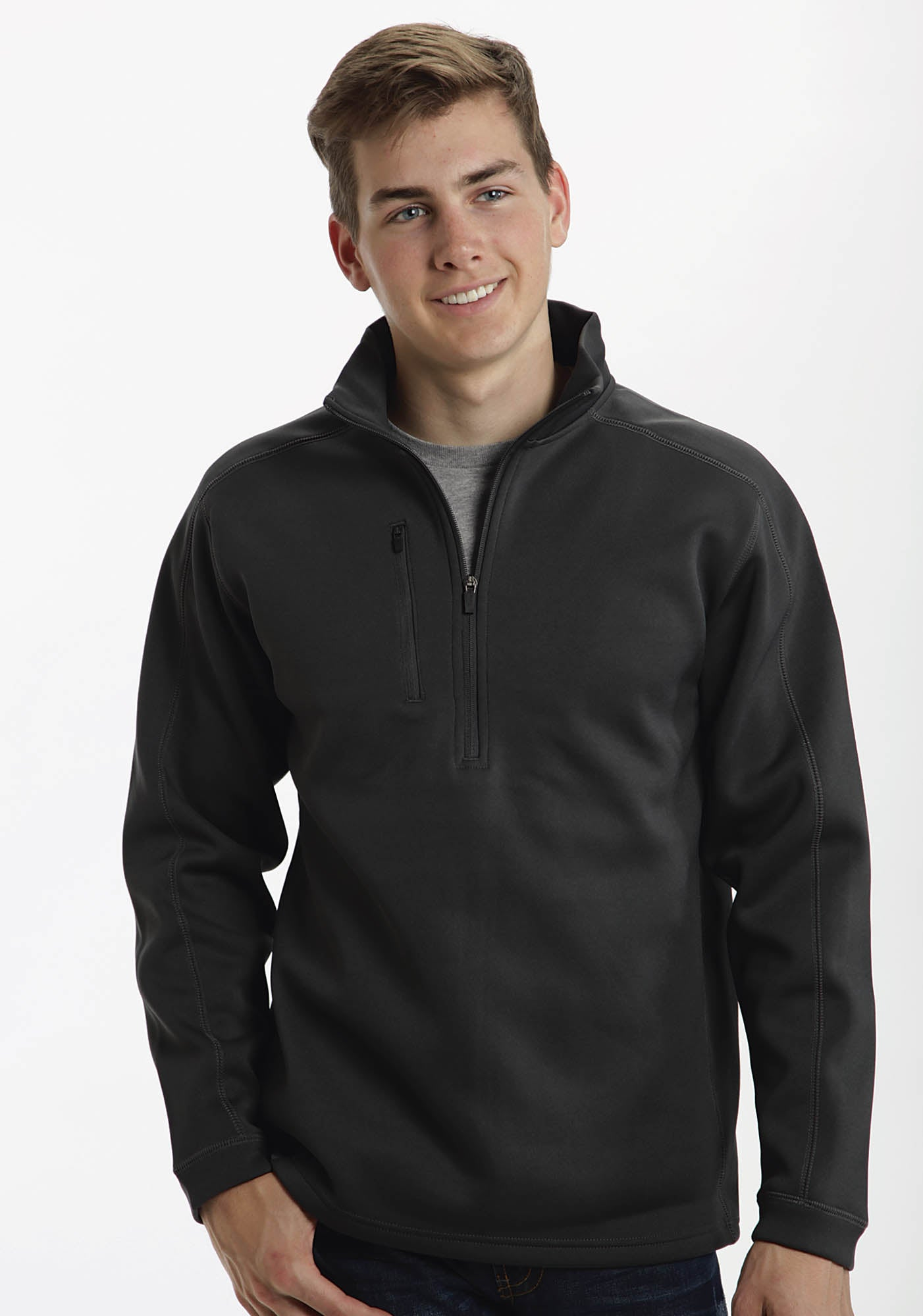 ROPER MENS GREY BONDED PULLOVER 1/4 ZIP UP FT  JACKET