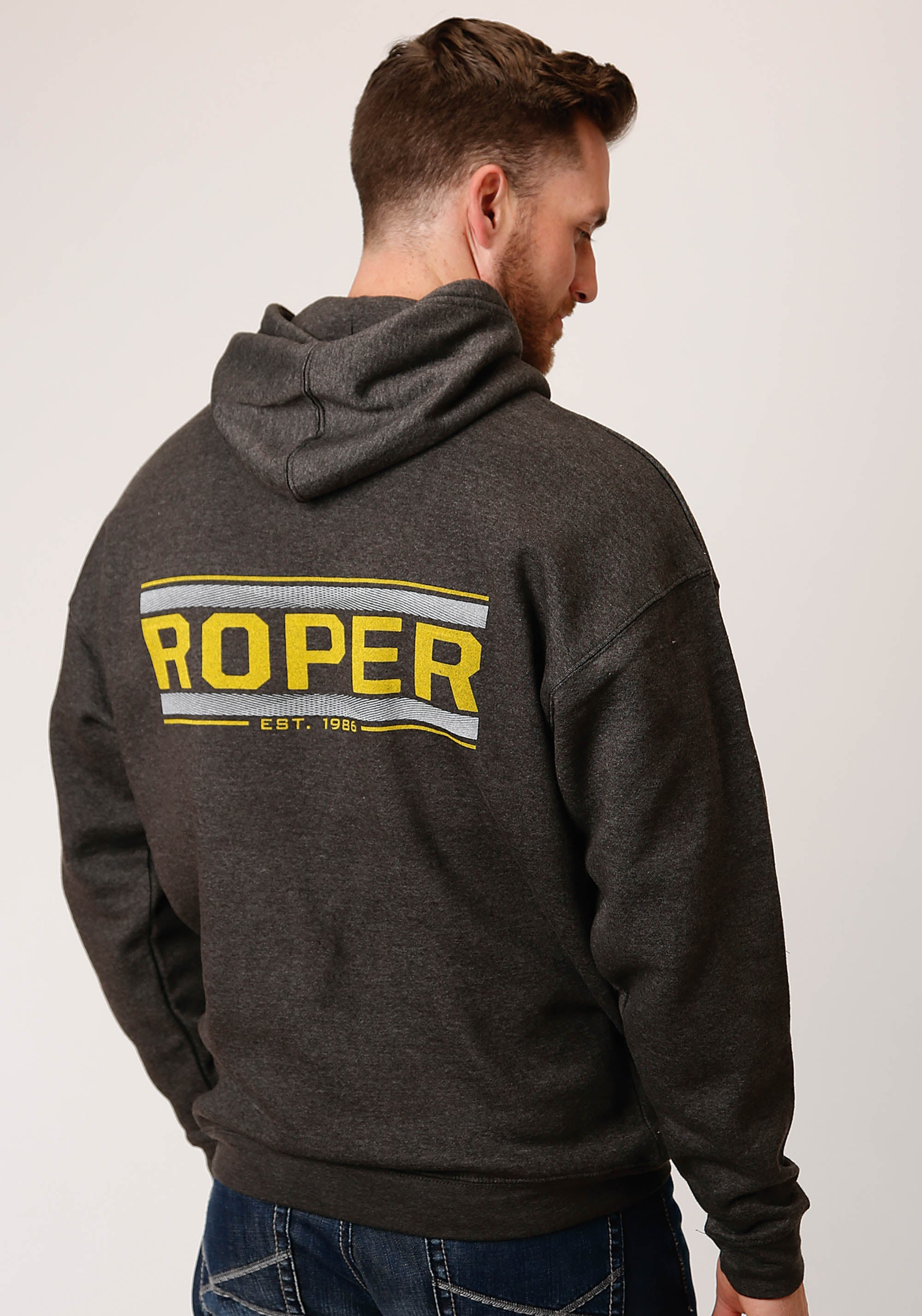 ROPER MENS GREY ROPER LEFT CHEST FULL BACK SCREEN PRIN ROPER MEN'S SWEATSHIRTS JACKET