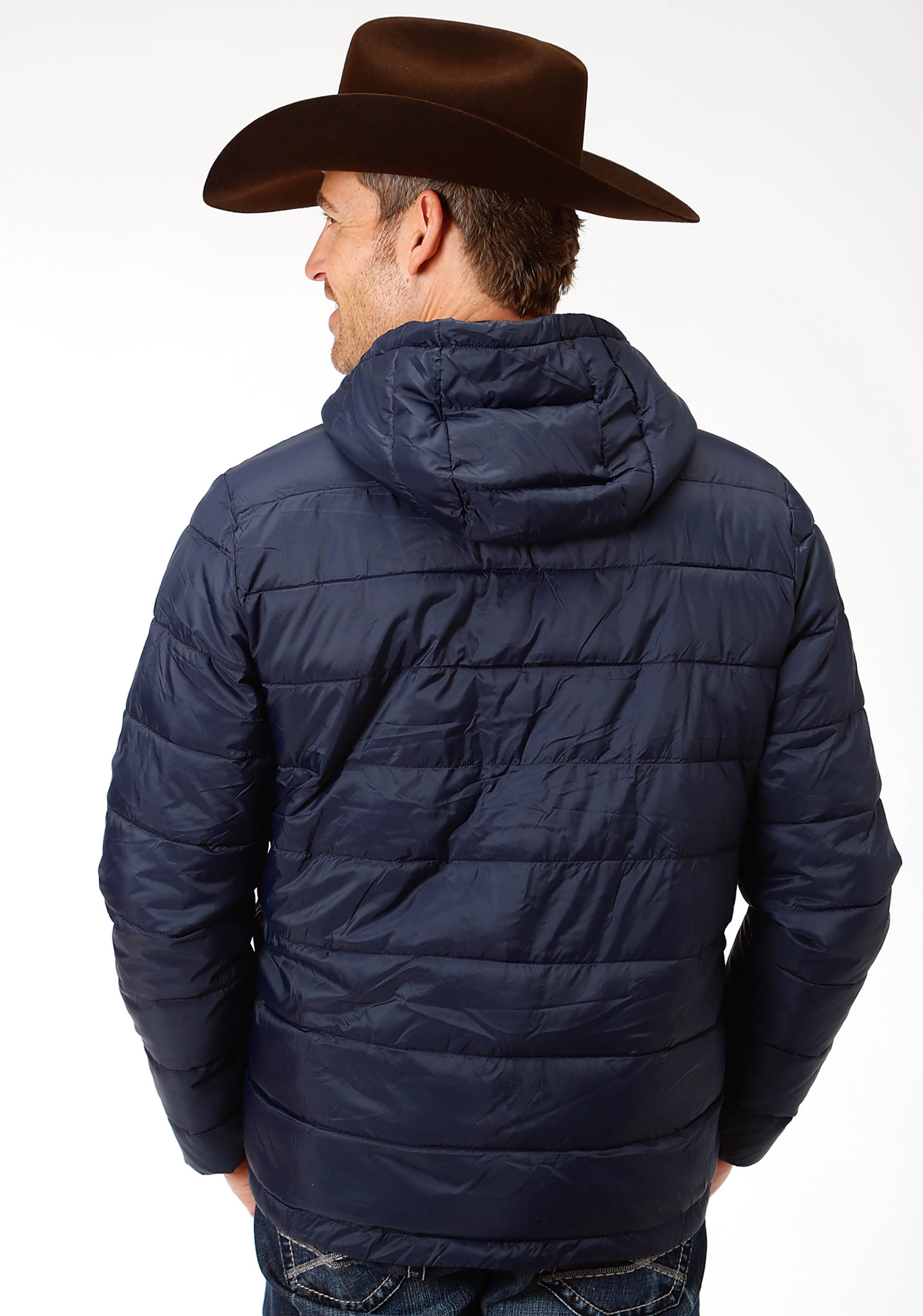 ROPER MENS BLUE 4043 POLY FILLED NYLON PULLOVER JACKET ROPER OUTERWEAR- MEN'S JACKET
