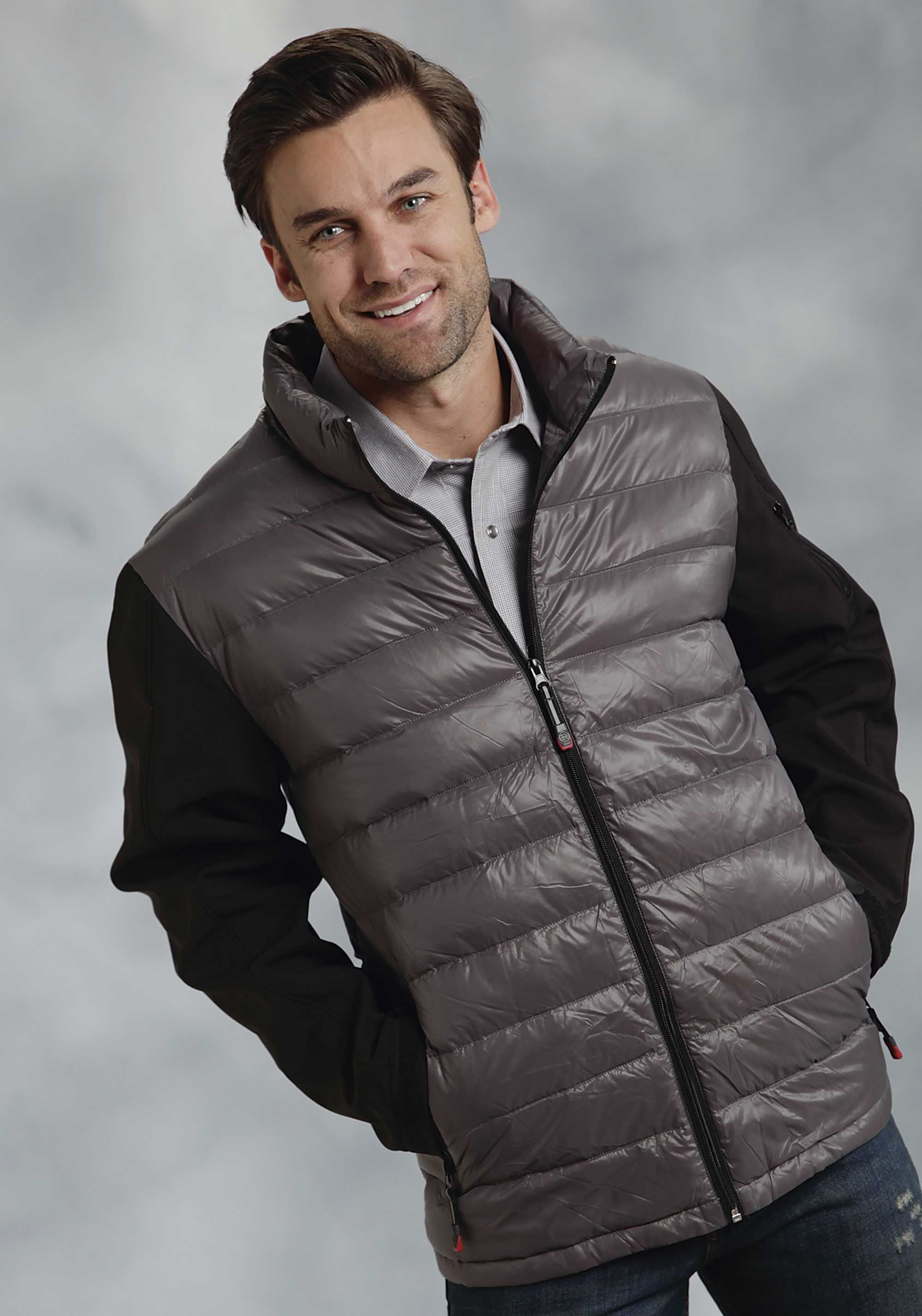 ROPER MENS GREY GY PARACHUTE CRUSHABLE PCD W/BL SOFT ROPER OUTERWEAR- MEN'S JACKET