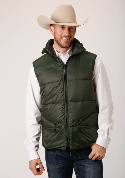OUTERWEAR MENS GREEN 00535 PARACHUTE DOWN FILLED VEST CRUSHABLE