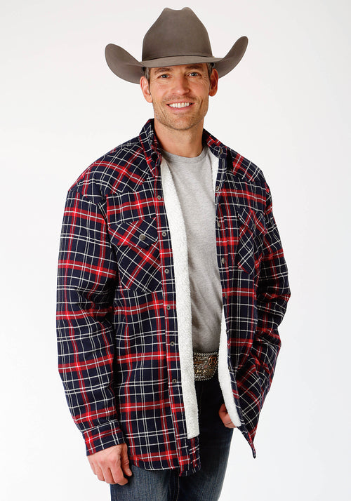 ROPER MENS RED 9372 RE/NA PLAID FLANNEL SHIRT JCKT  JACKET