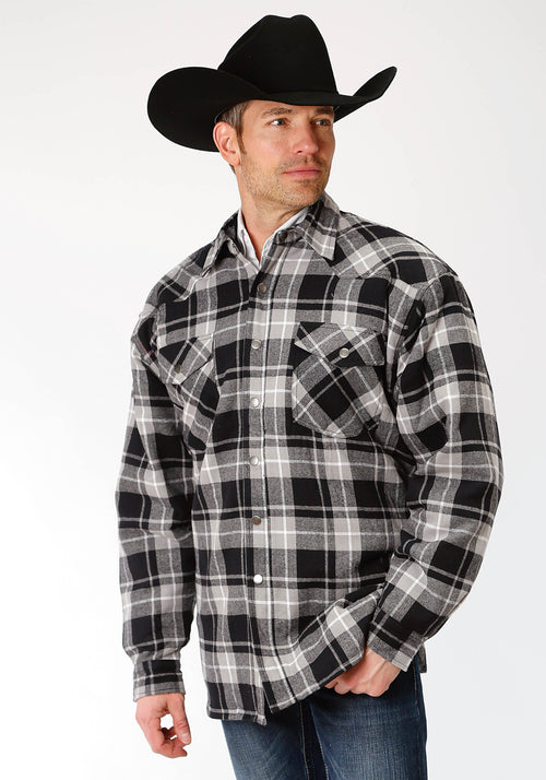ROPER MENS BLACK 9372 BL/GY PLAID FLANNEL SHIRT JCKT  JACKET