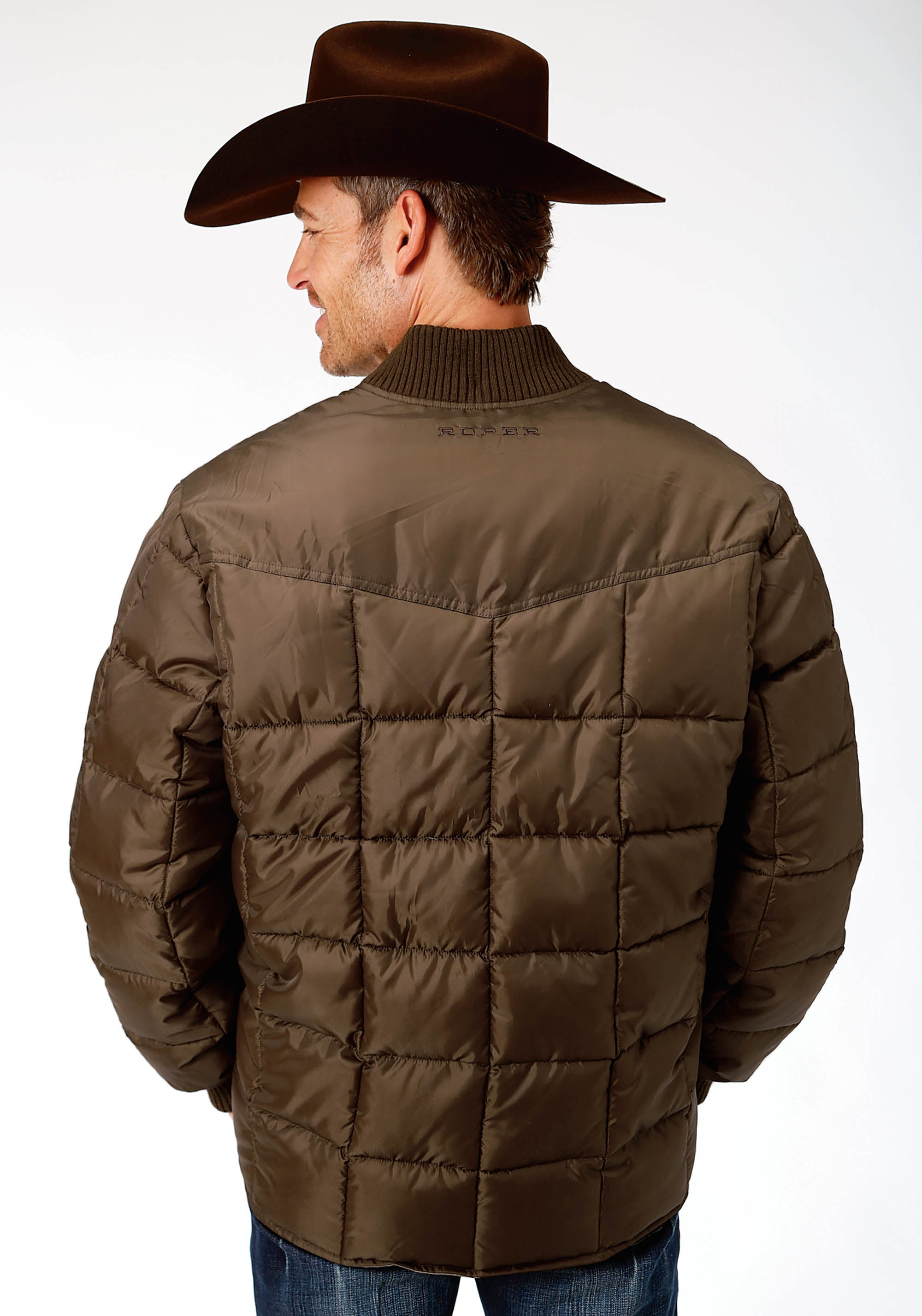 ROPER MENS BROWN 1473 CHOC QUILTED POLY-FILLED JACKET OPP OUTERWEAR- MEN'S JACKET