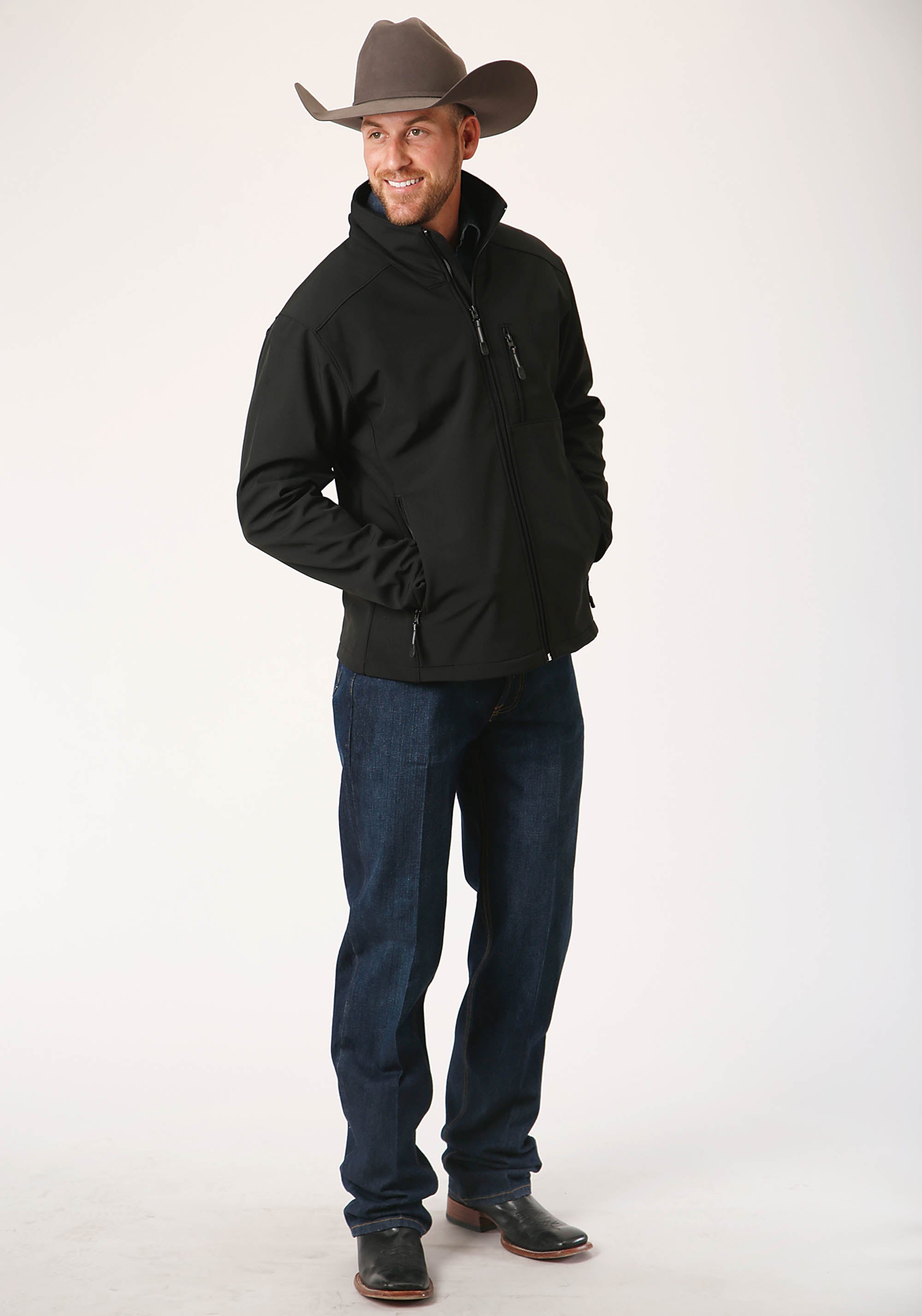 ROPER MENS BLACK 00259 BLACK W/BLACK SOFTSHELL JACKET ROPER OUTERWEAR- MEN'S INSTOCK JACKET