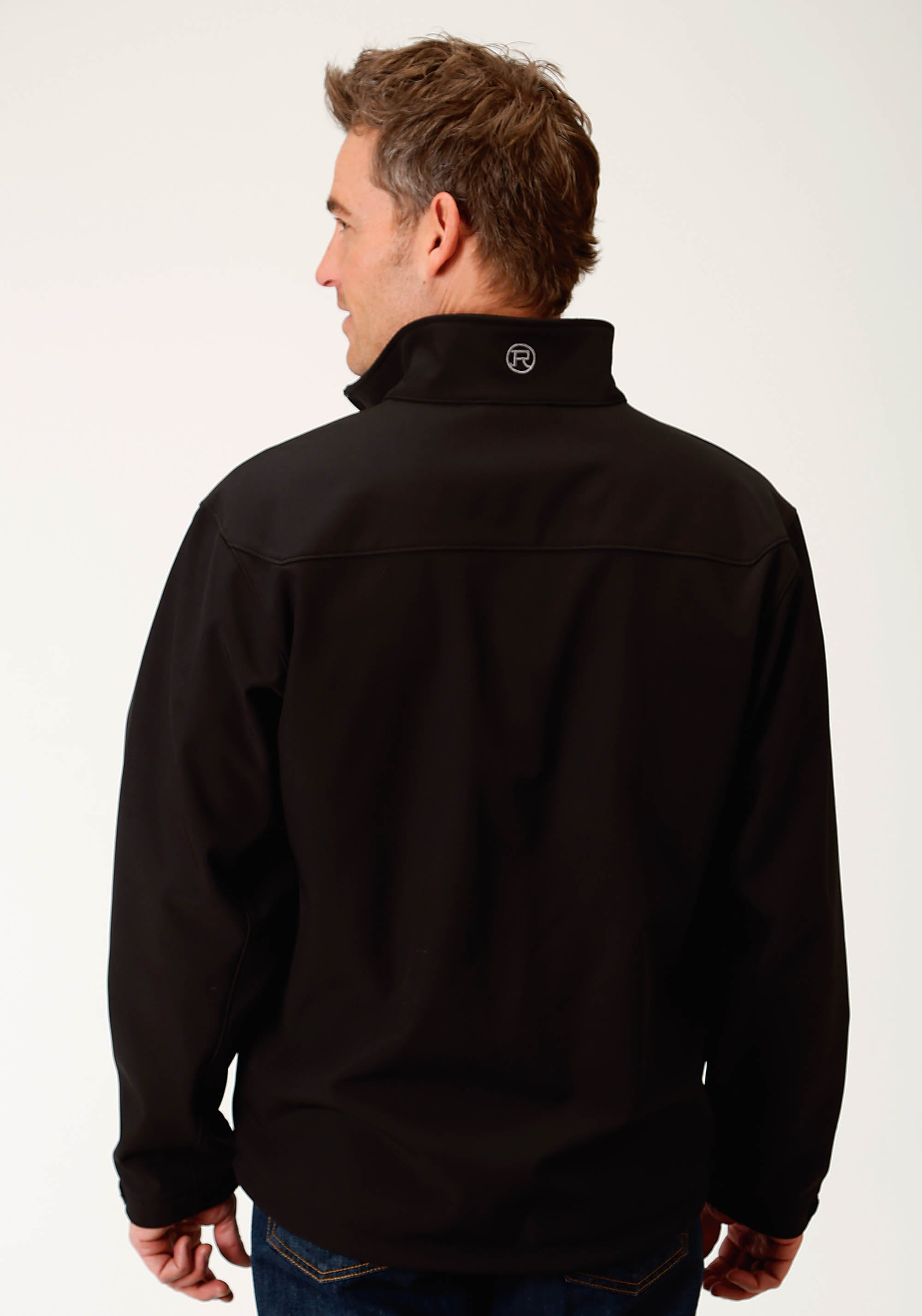 ROPER MENS BLACK BONDED SOFTSHELL JCKT - BLACK ROPER OUTERWEAR- MEN'S JACKET