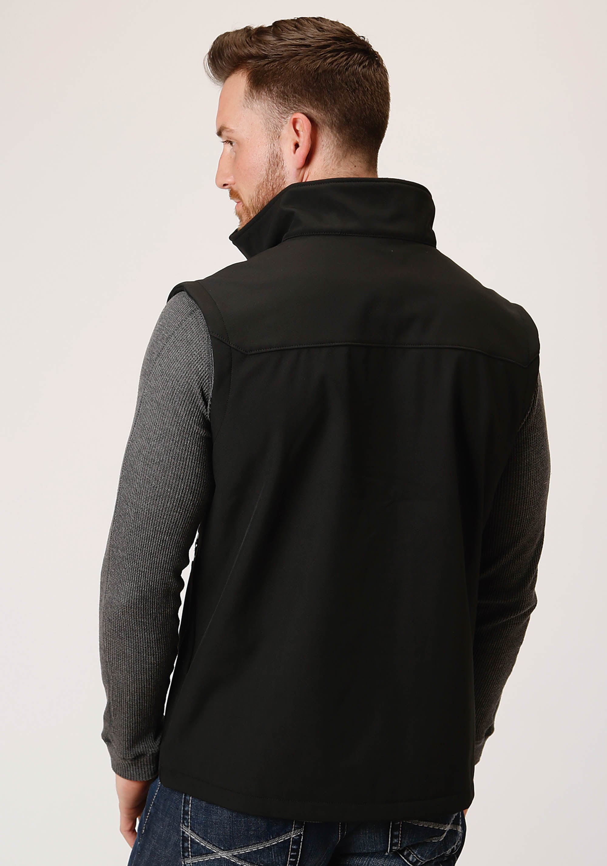 ROPER MENS BLACK 00259 BLACK W/BLACK SOFTSHELL VEST ROPER OUTERWEAR- MEN'S IN STOCK JACKET