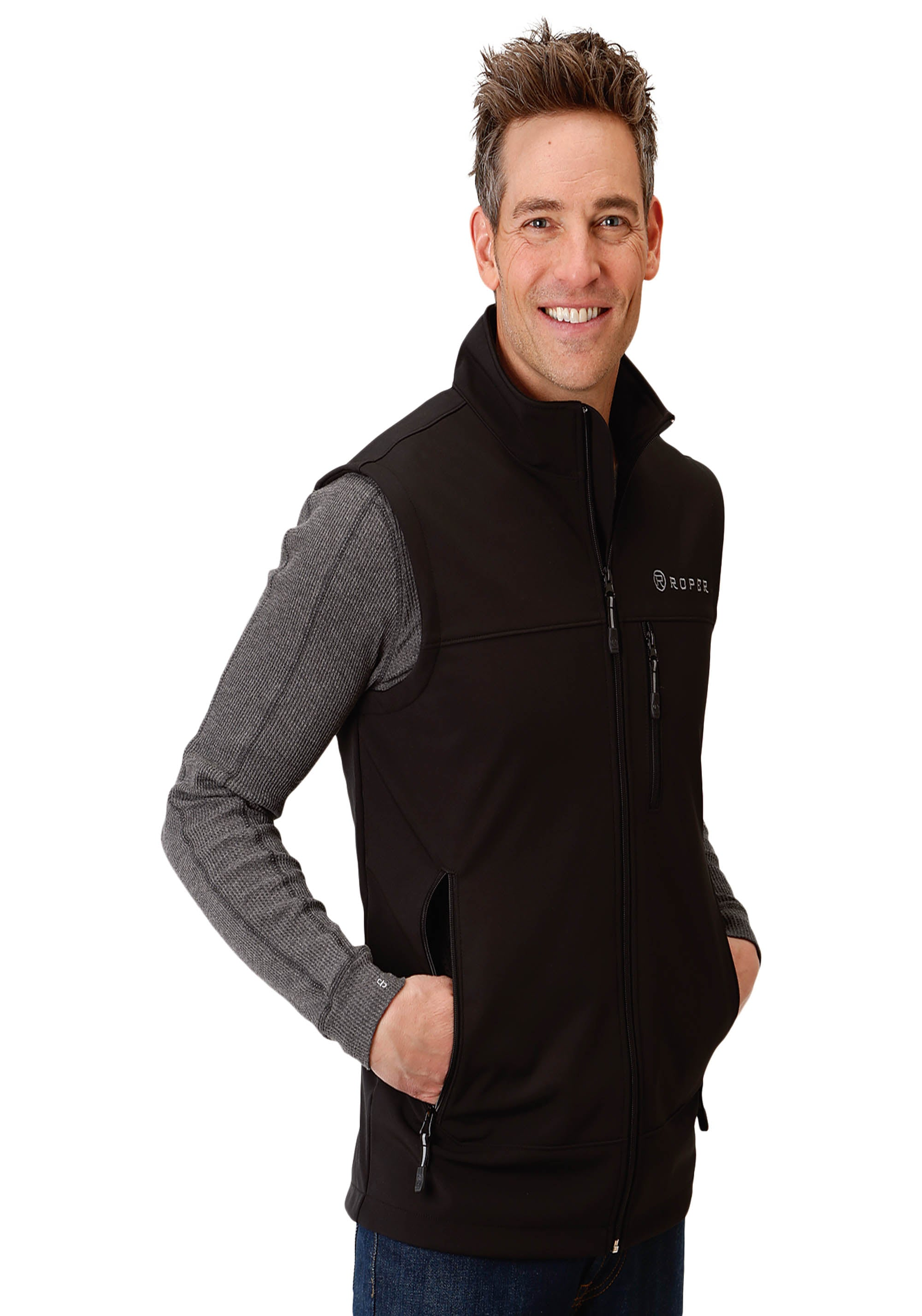 OUTERWEAR MENS BLACK BONDED SOFTSHELL VEST - BLACK TECH GROUP