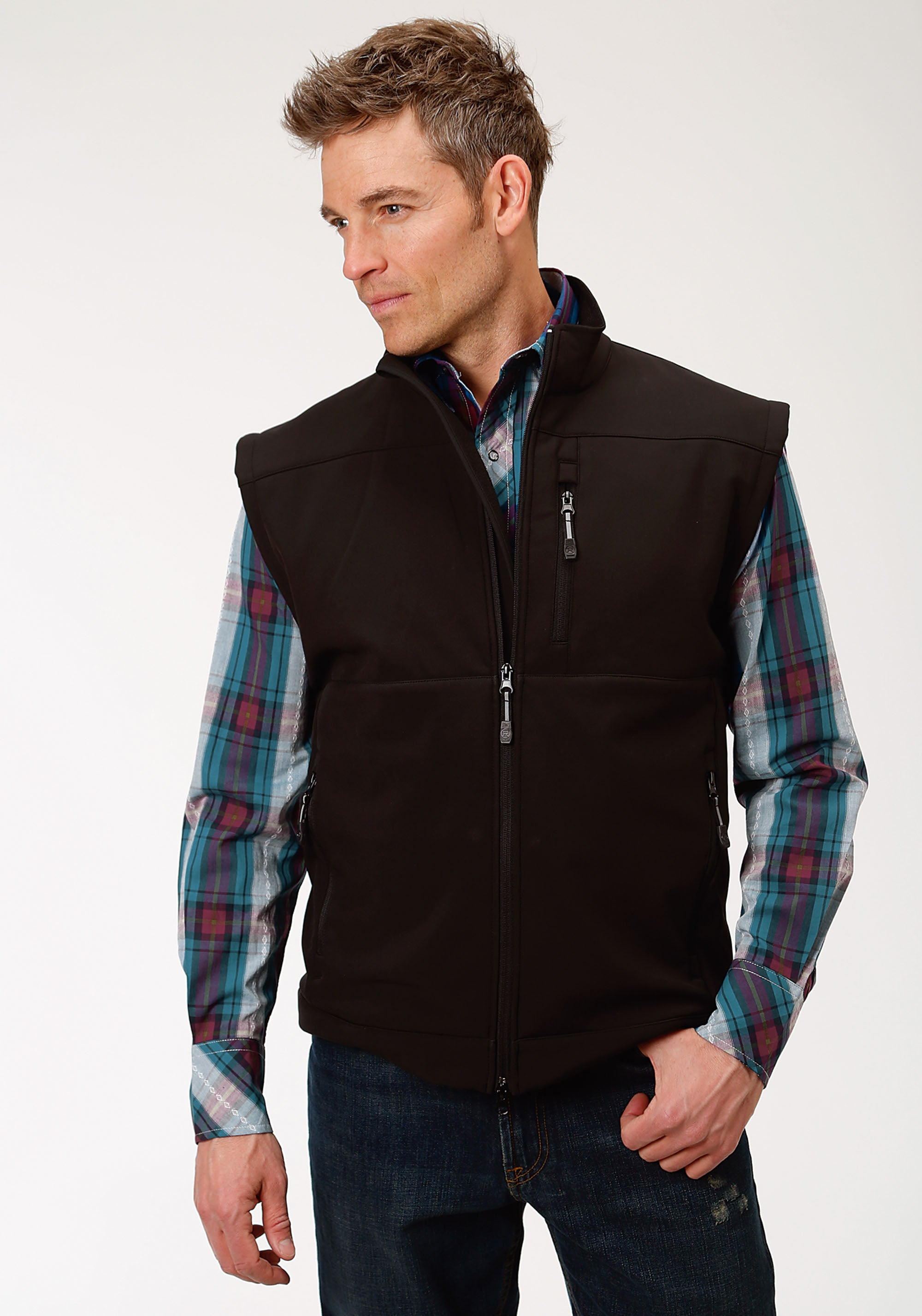 ROPER MENS BLACK 1321 BLACK WITH BLACK FLEECE ROPER OUTERWEAR- MEN'S VEST