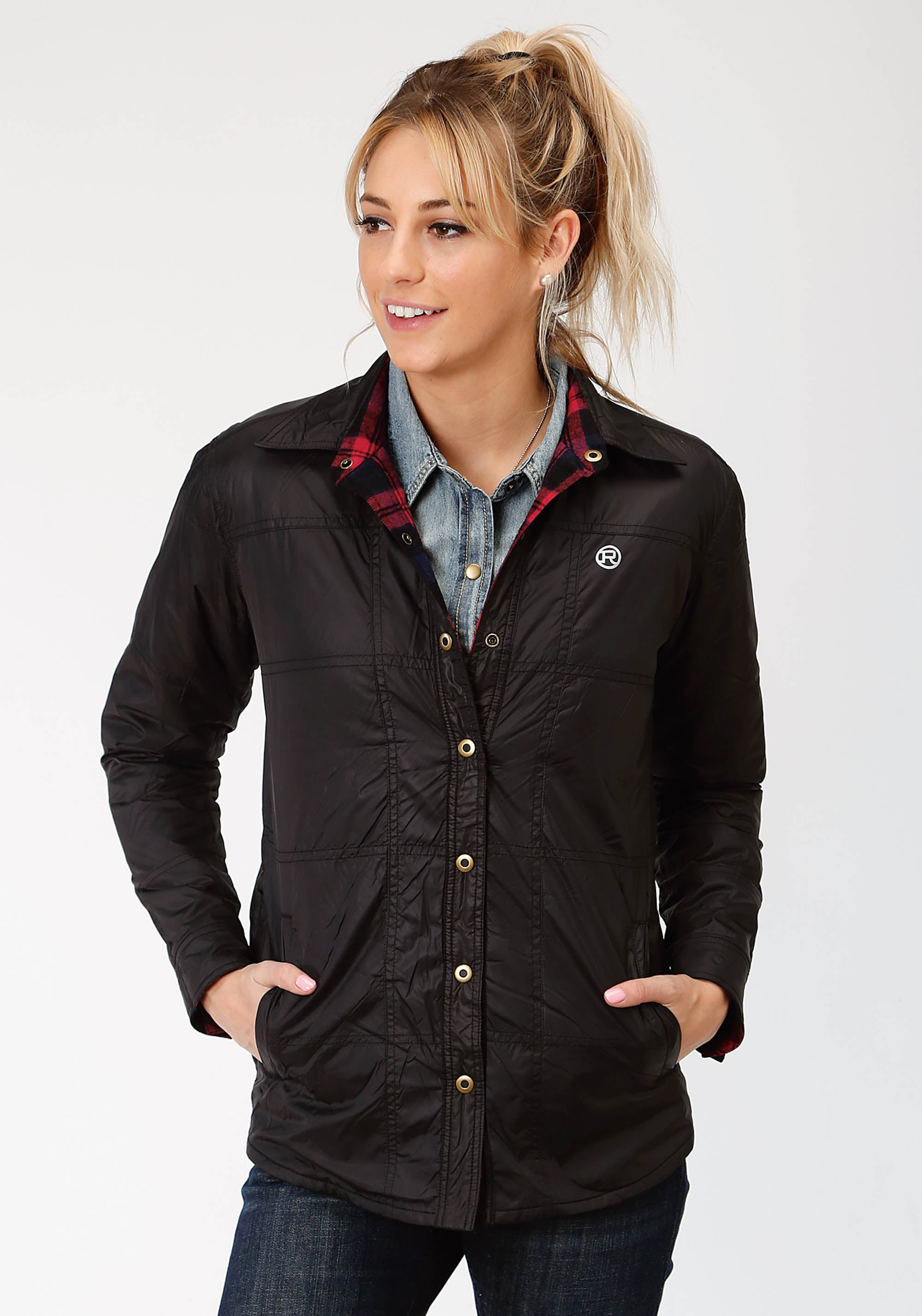 ROPER WOMENS BLACK 9389 BLACK POLY/FLANNEL REVERSIBLE JKT  JACKET