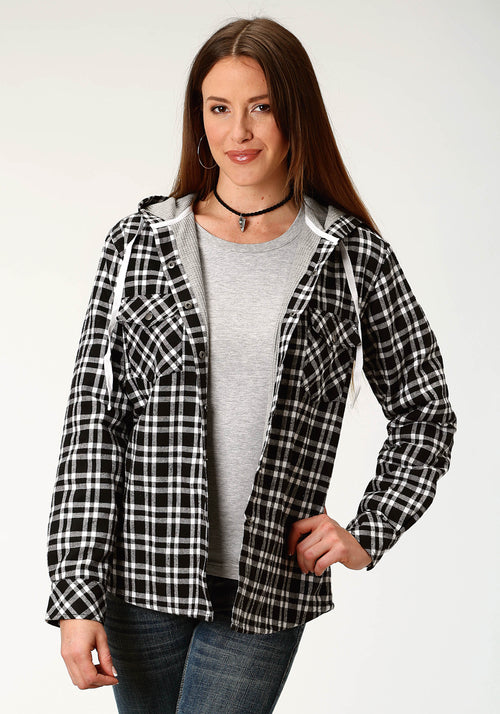 ROPER WOMENS BLACK FLANNEL KNIT LINED HOODED SHIRT  JACKET