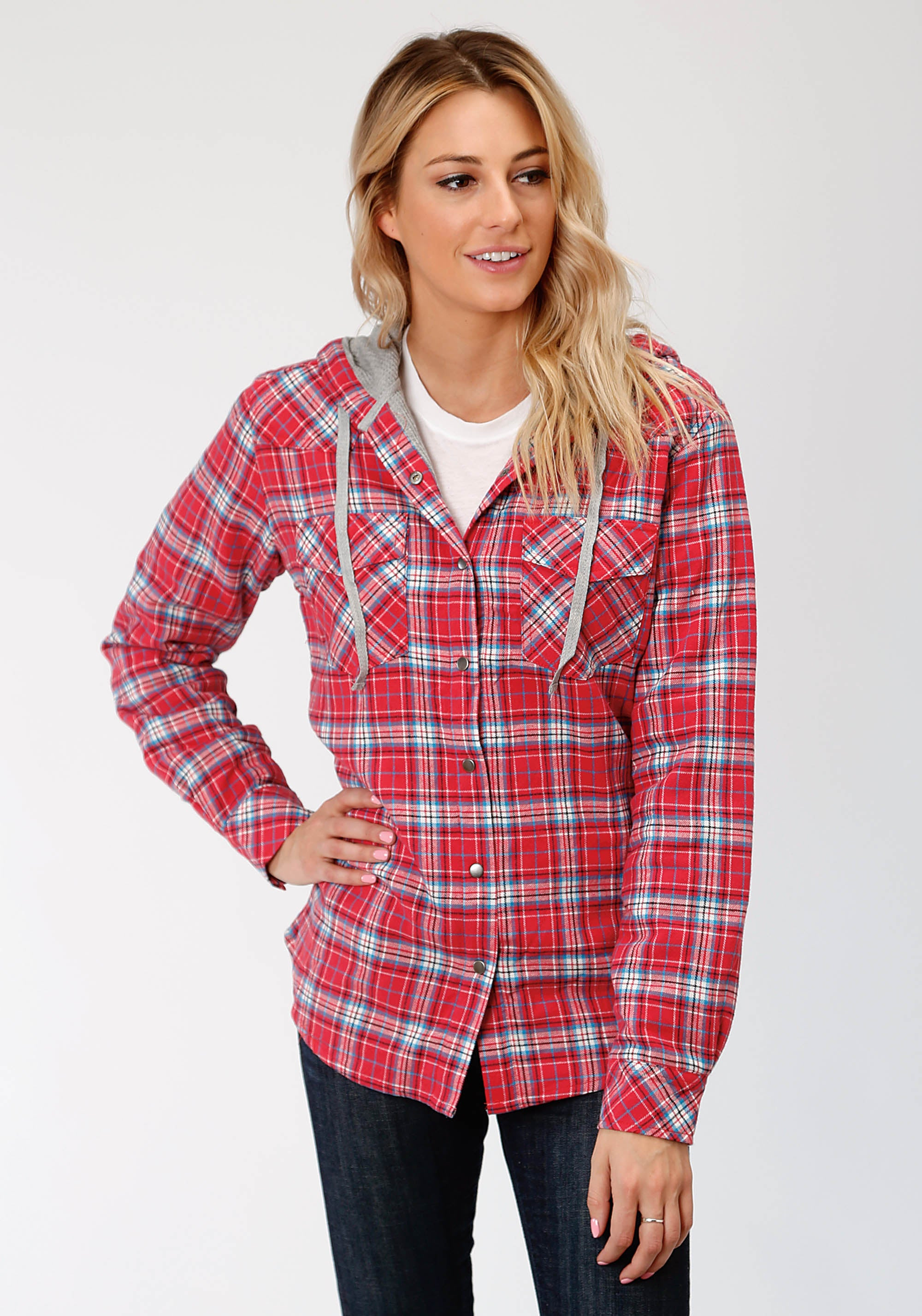 ROPER WOMENS RED 4015 CORAL/BLUE/WHITE FLANNEL PLAID  JACKET