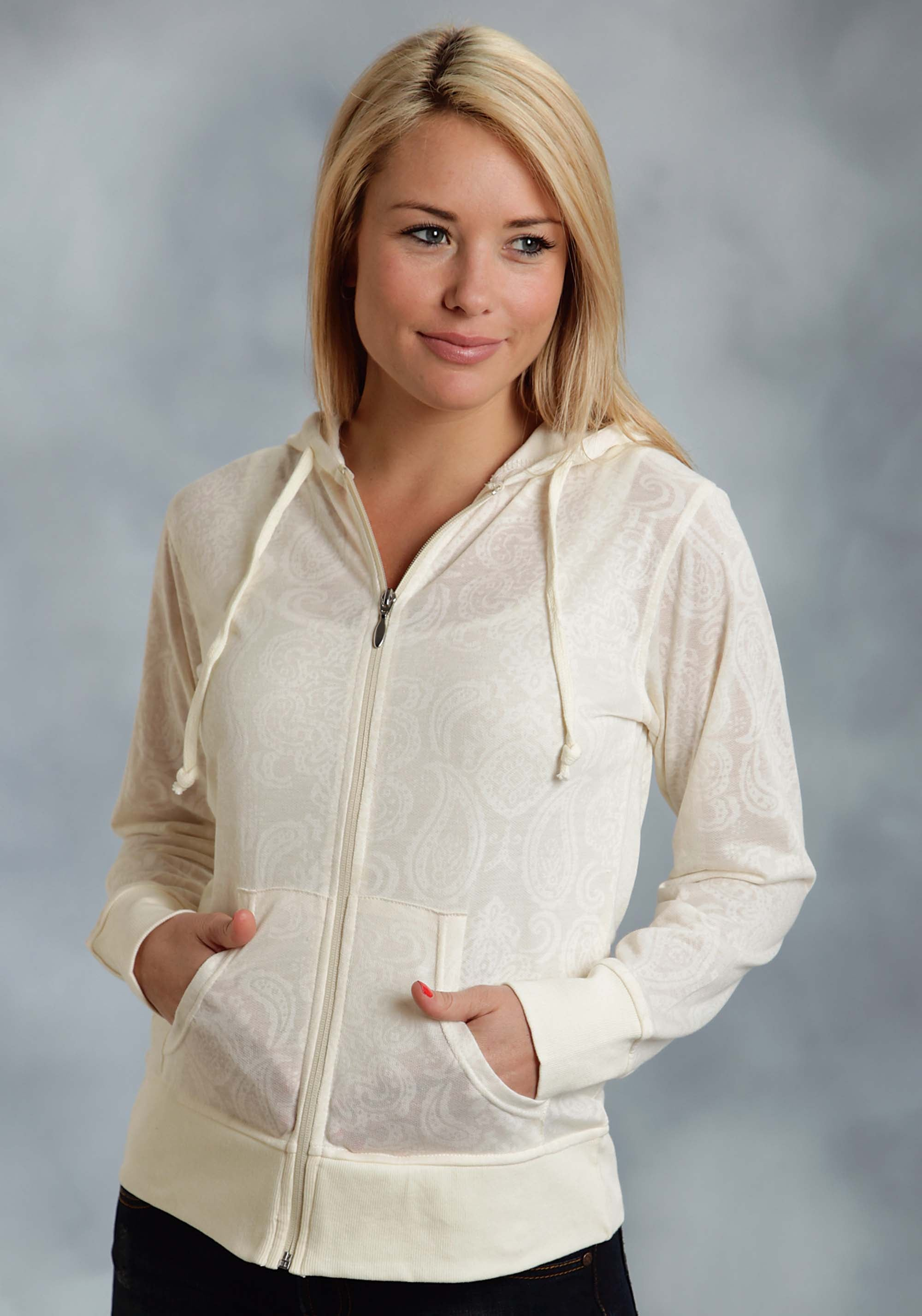 ROPER LADIES WHITE BURNT OUT ZIP UP HOODIE JKT  JACKET